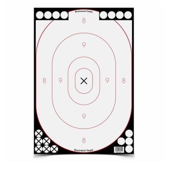 "BIRCHWOOD CASEY SHOOT-N-C  Grey and Black Bullseye 12x18"" 5pk"