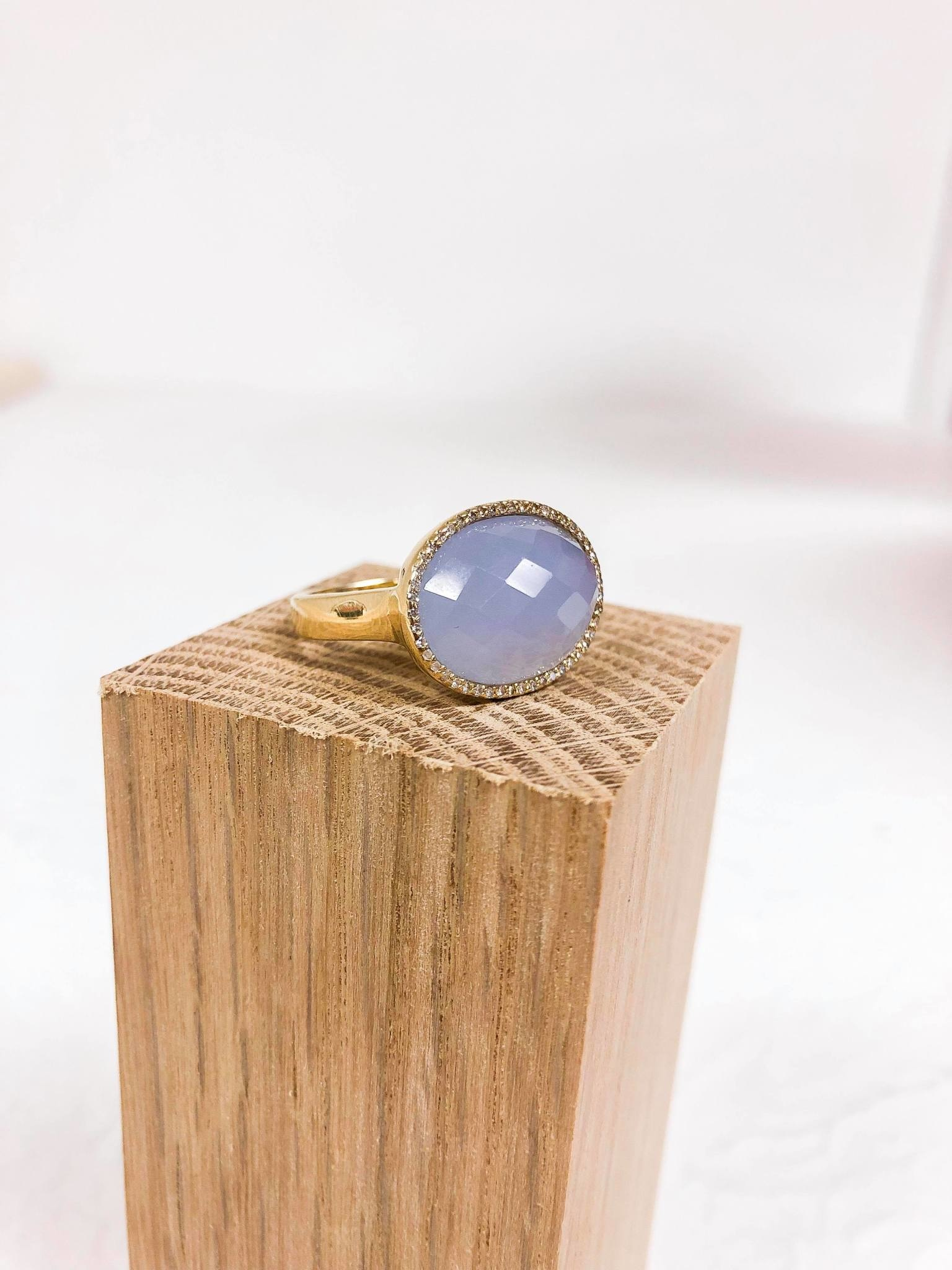 Quartz Diamond Yellow Gold Violet Ring