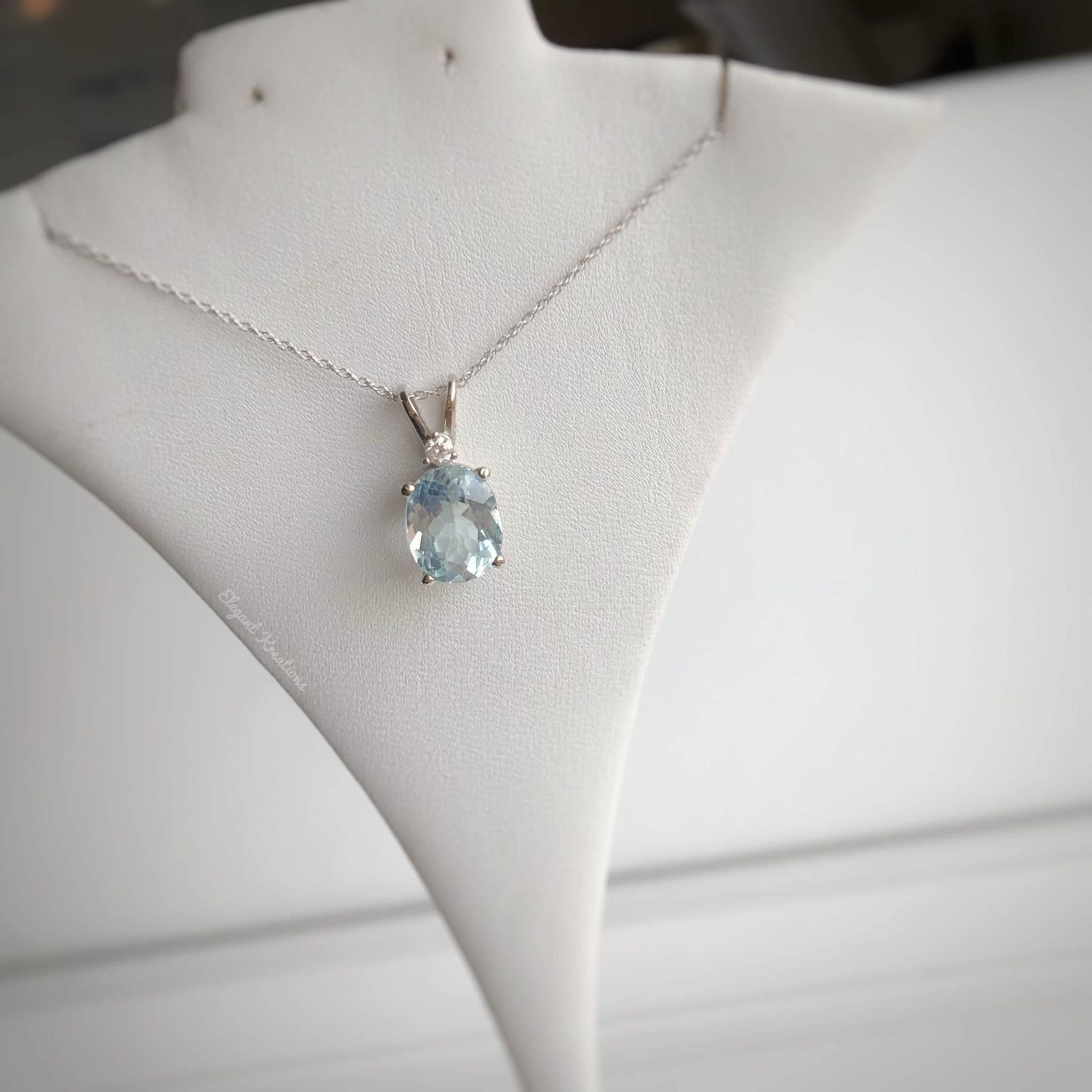 2ct Aqua and Diamond White Gold Necklace