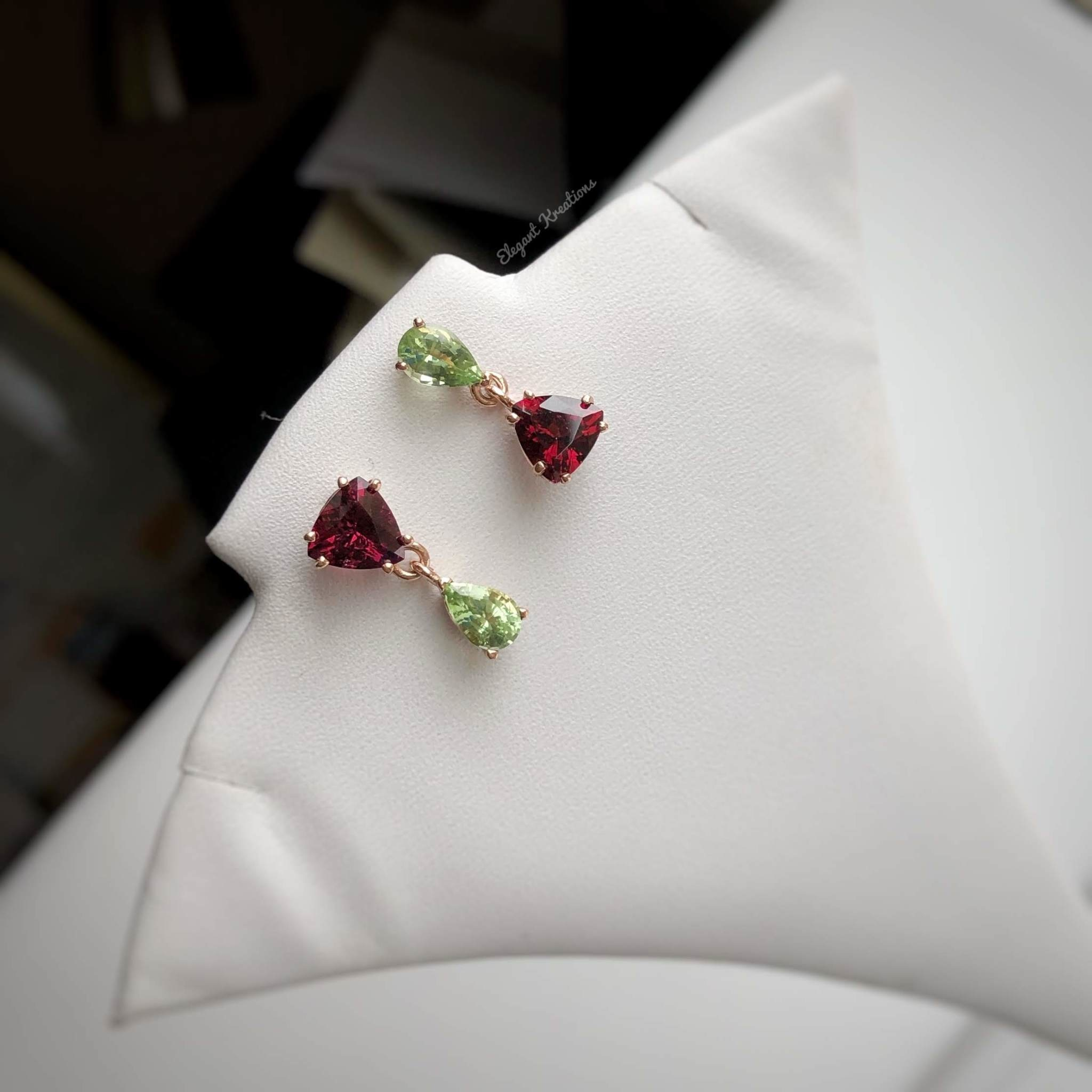 Peridot and Rhodolite Garnet Asymmetrical rose gold Earrings