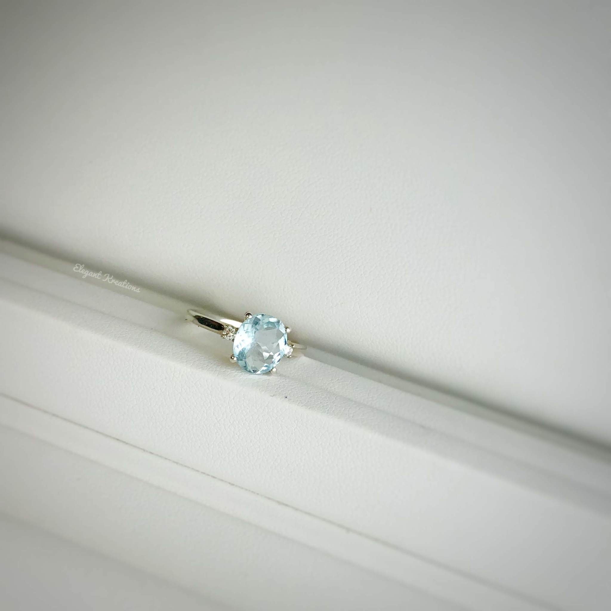 SS 1.5ct aquamarine and Diamond Ring