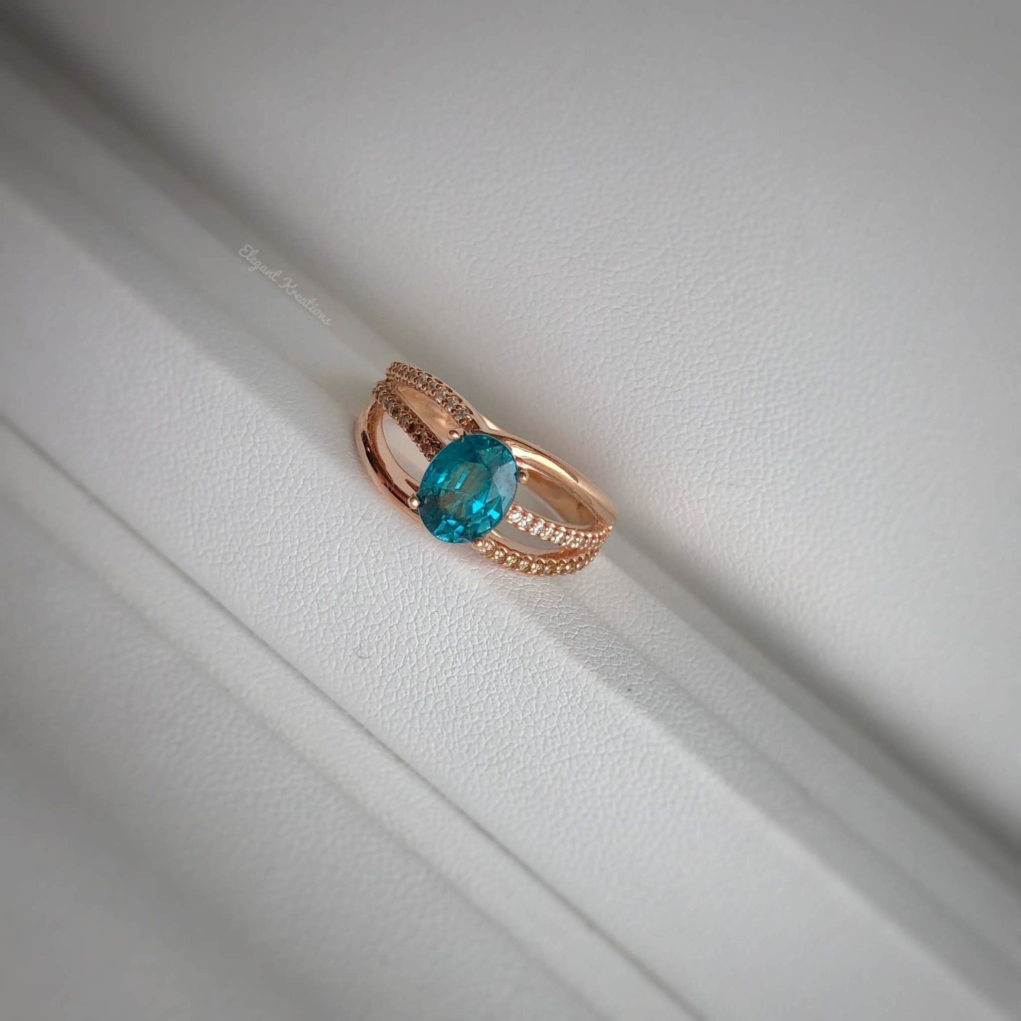 Blue Zircon Rose Gold Ring with Chocolate and White Diamonds