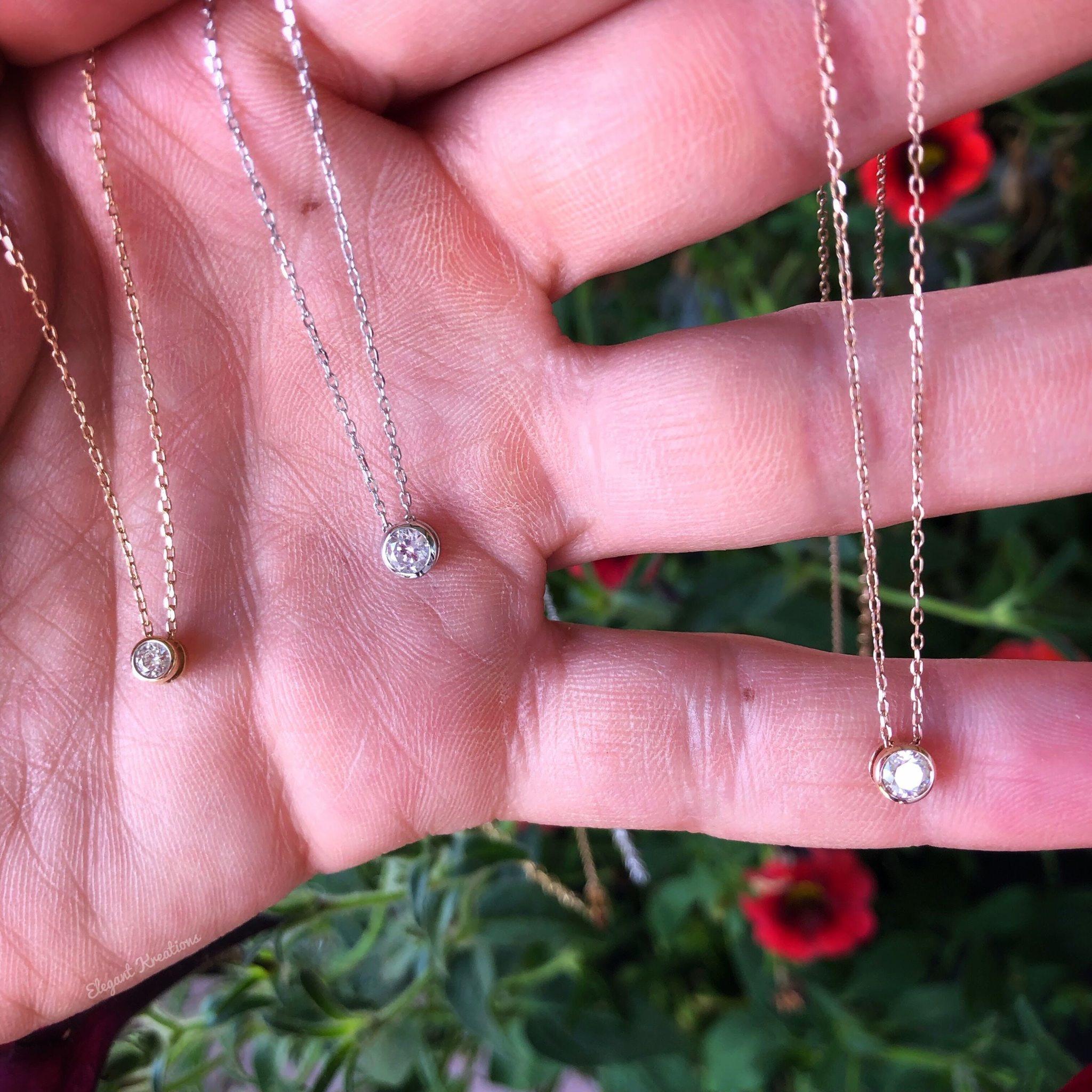 Rose Gold Bezel .15ct Diamond Necklace