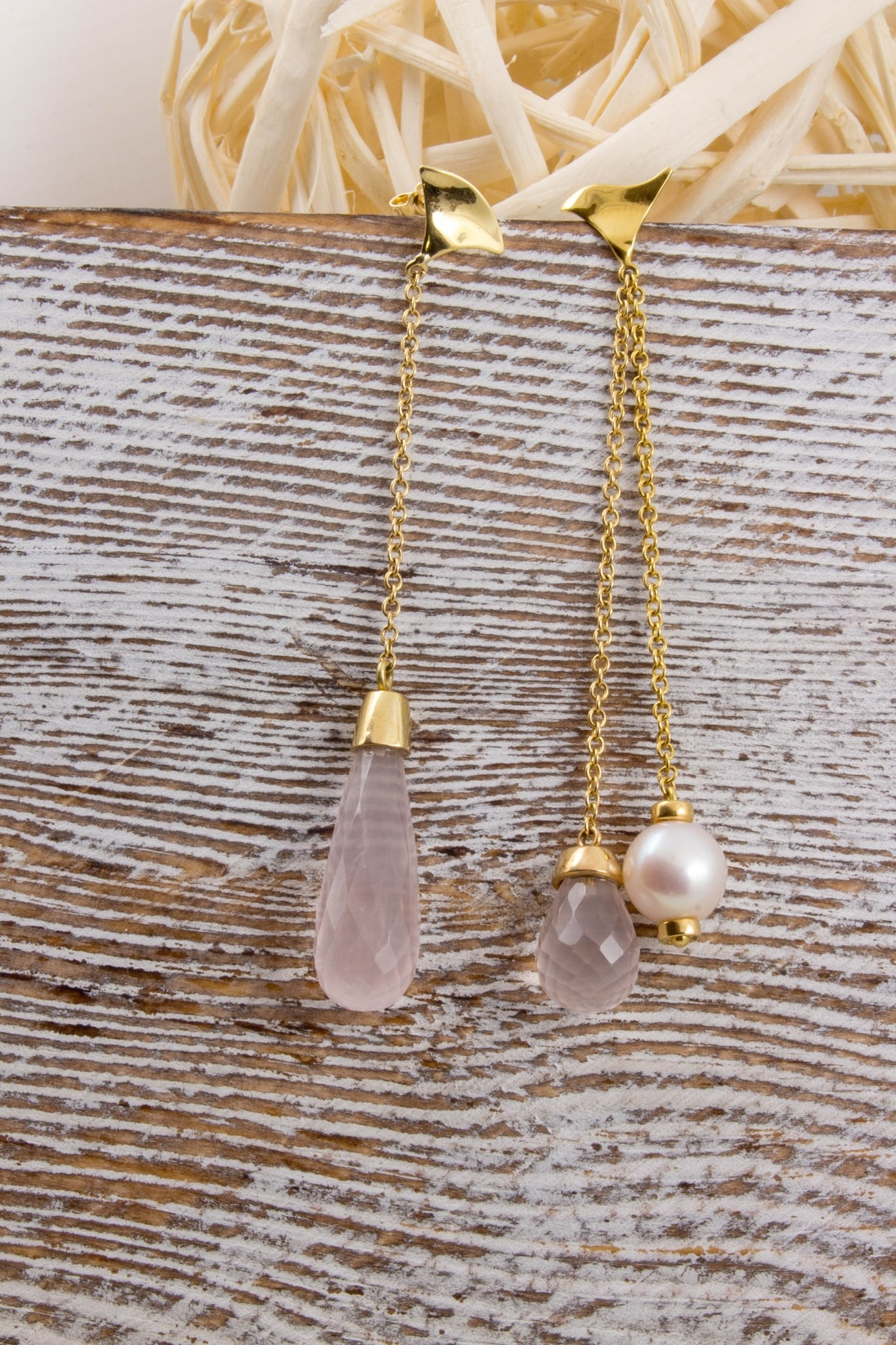 Asymmetrical Quartz & Pearl Yellow Gold Earrings