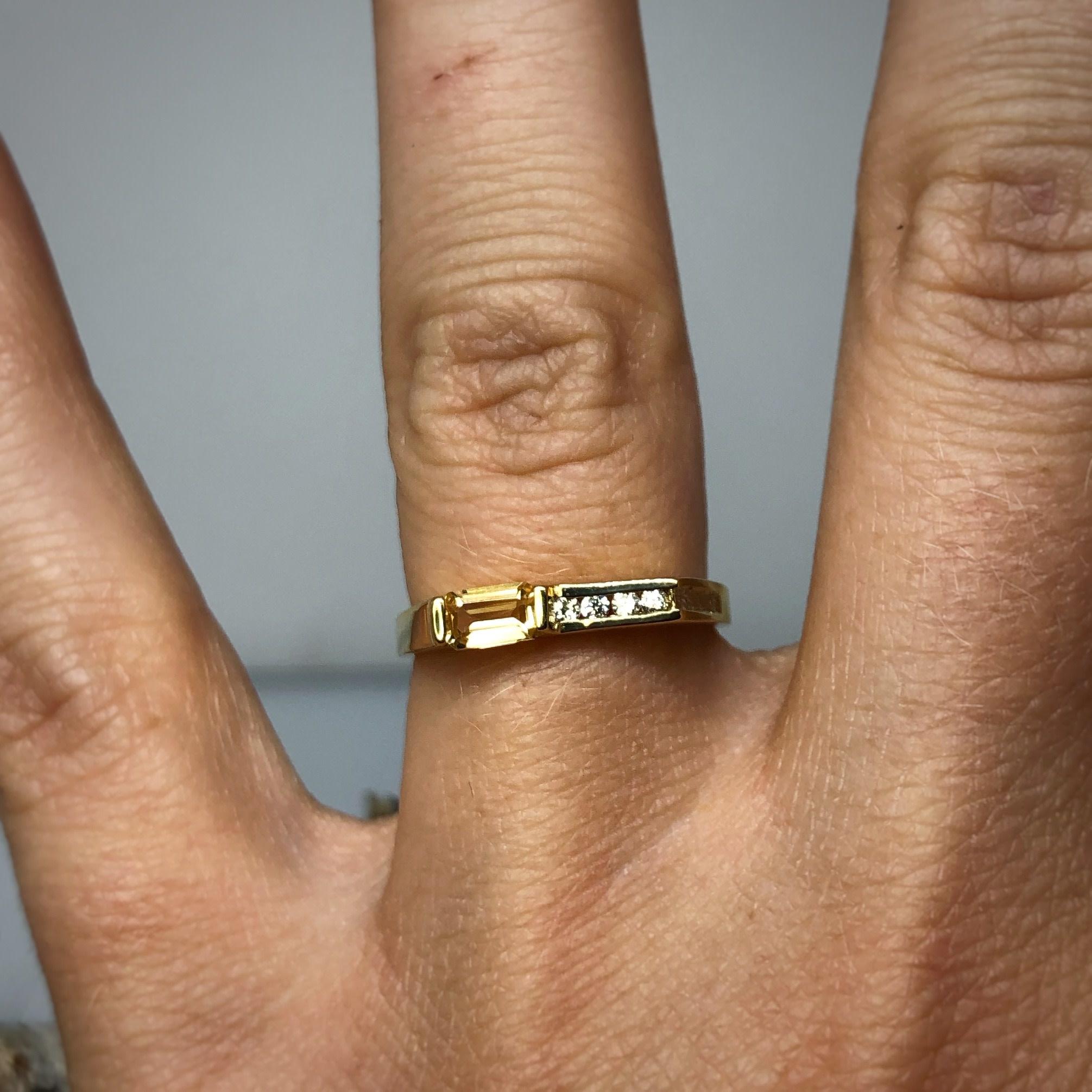YG Bag Citrine and Diamond Ring