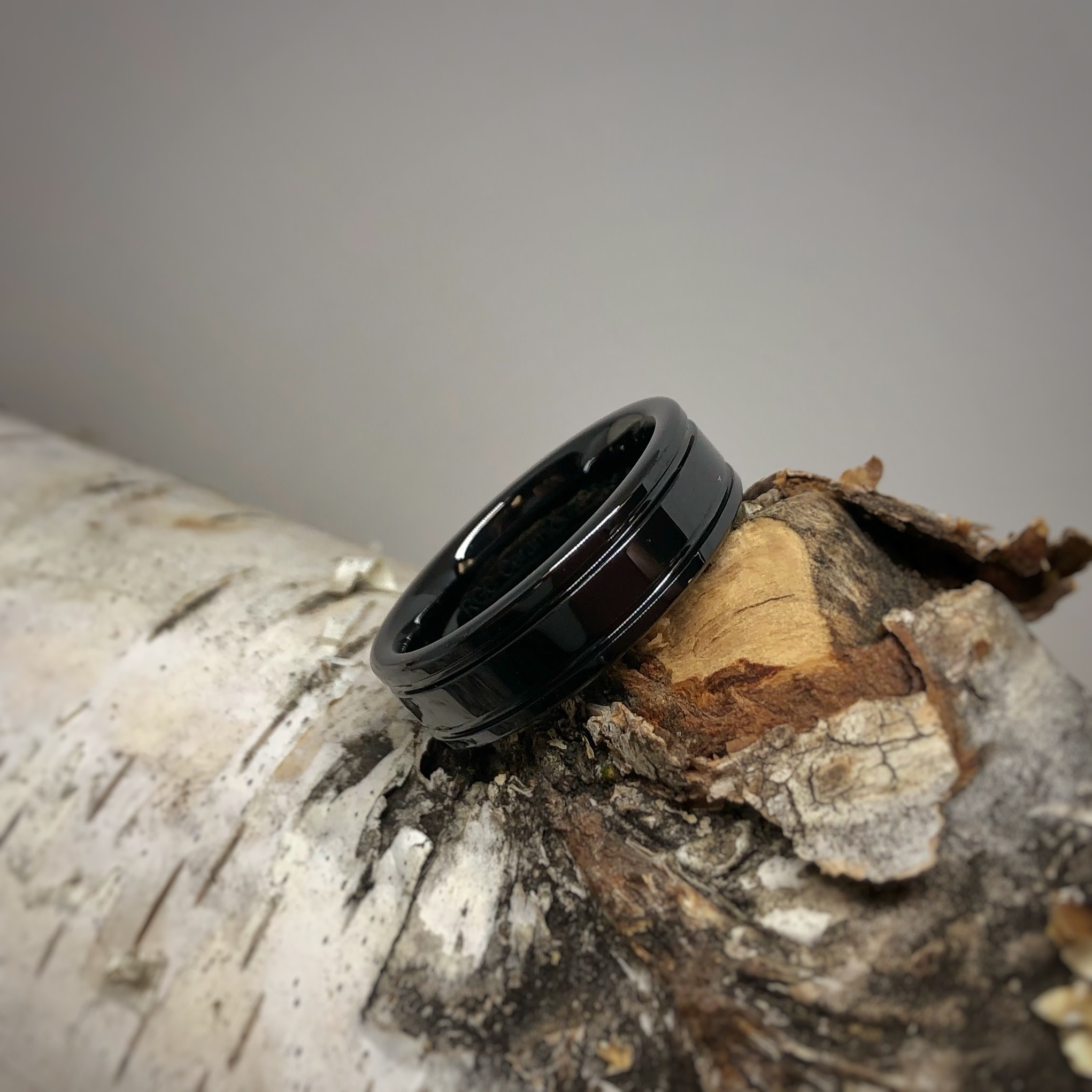 Black Ceramic Double Groove Comfort Fit Men's Ring