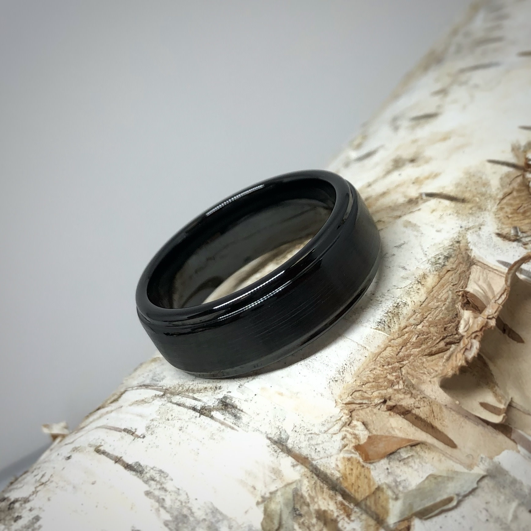 Black Ceramic Satin Knife Edge Comfort Fit Men's Ring