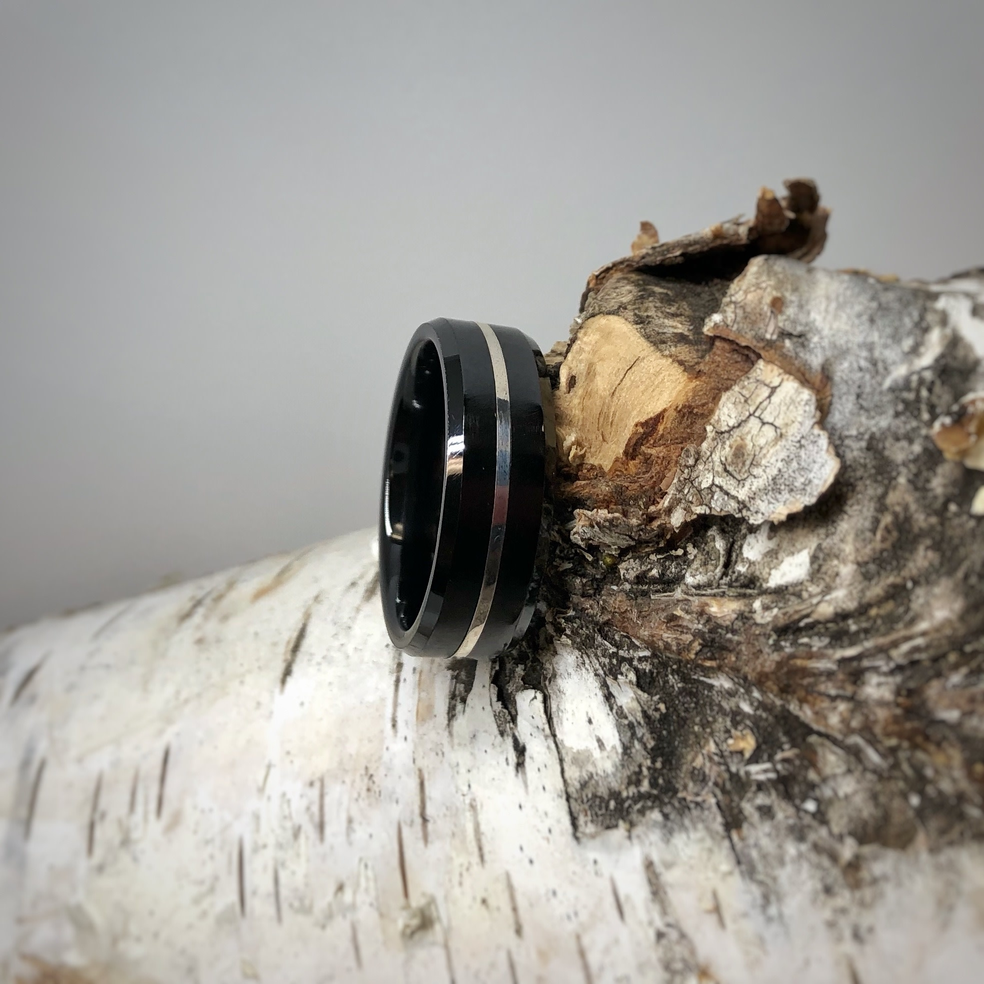 Black Ceramic with Silver Inlay Men's Ring