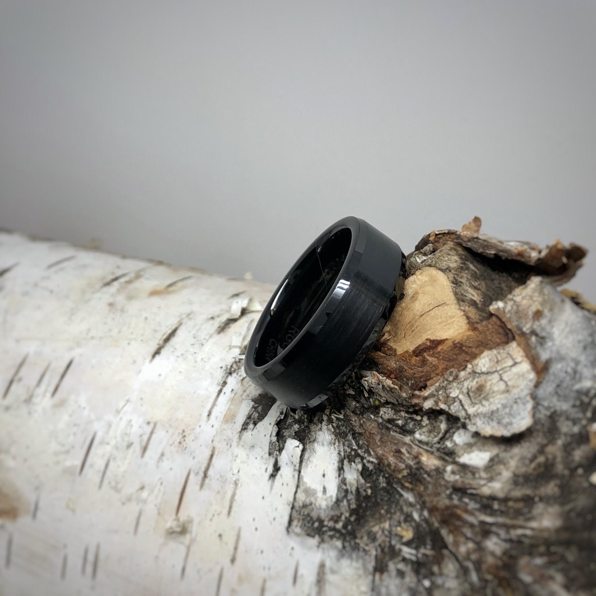 Black Ceramic Tapered Edge Men's Ring