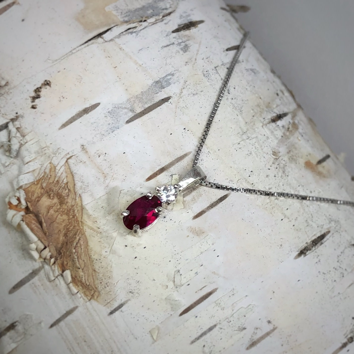 SS Garnet Colored CZ Pendant