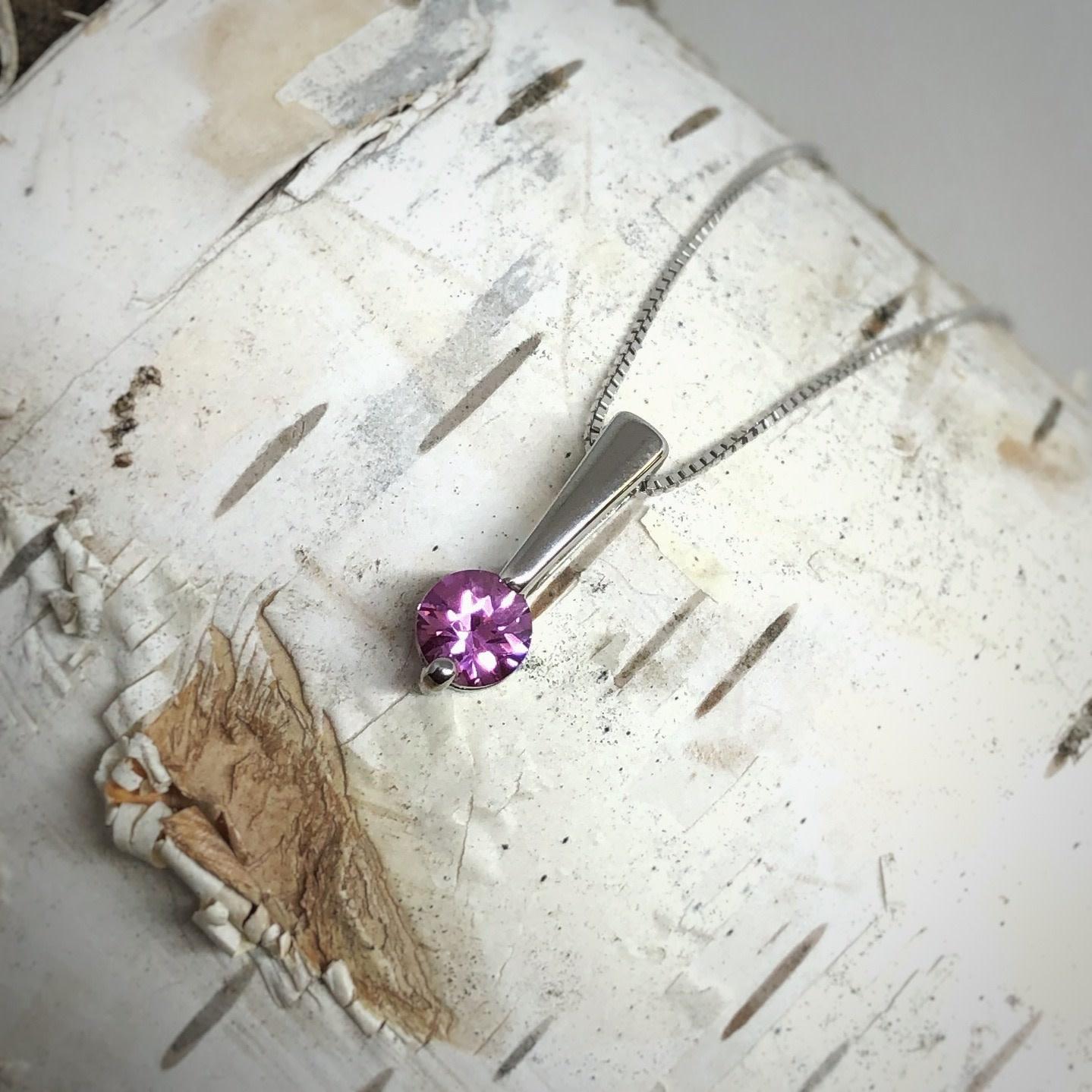 SS Cr Pink Sapphire Pendant