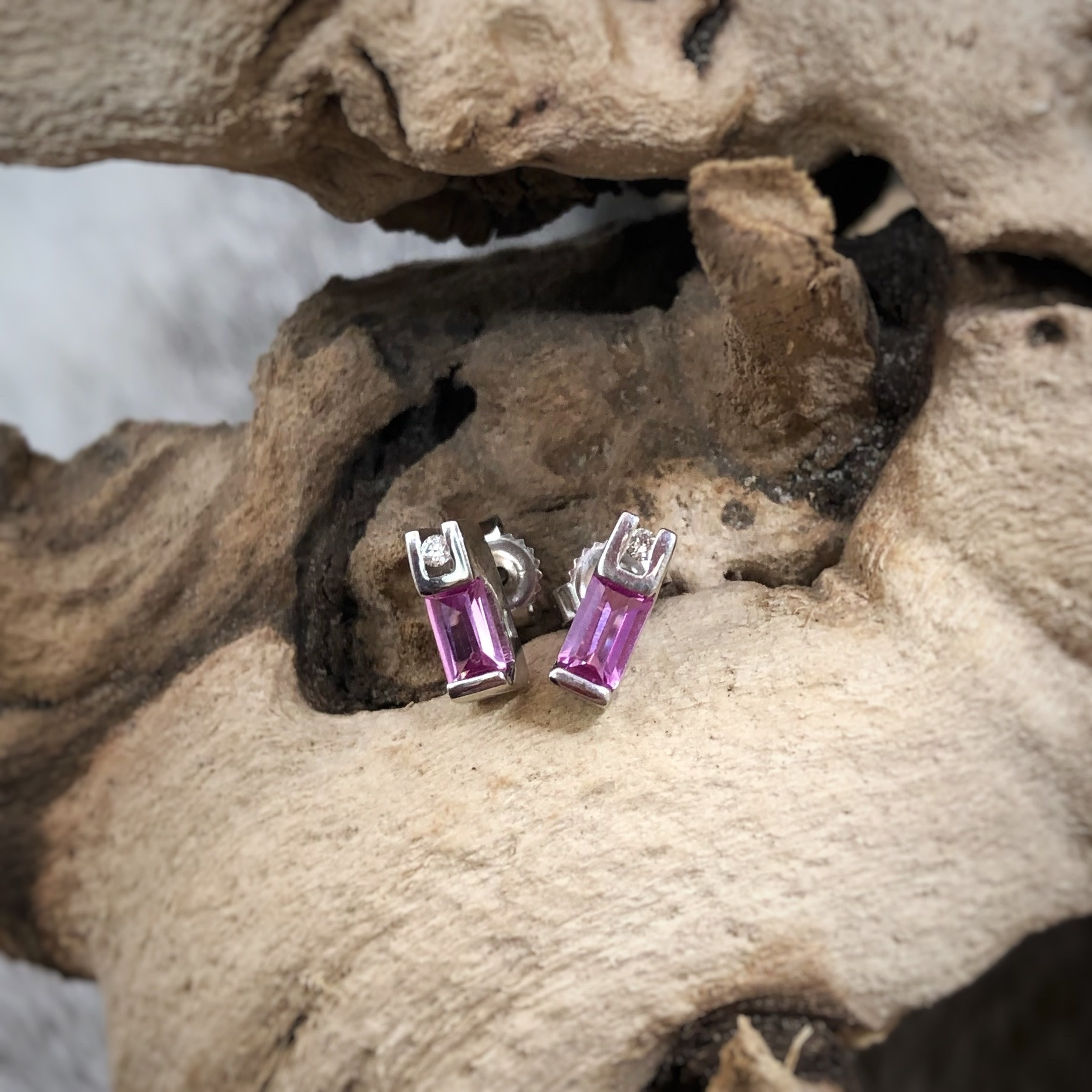 10KT WG CR Pink Sapph Earrings
