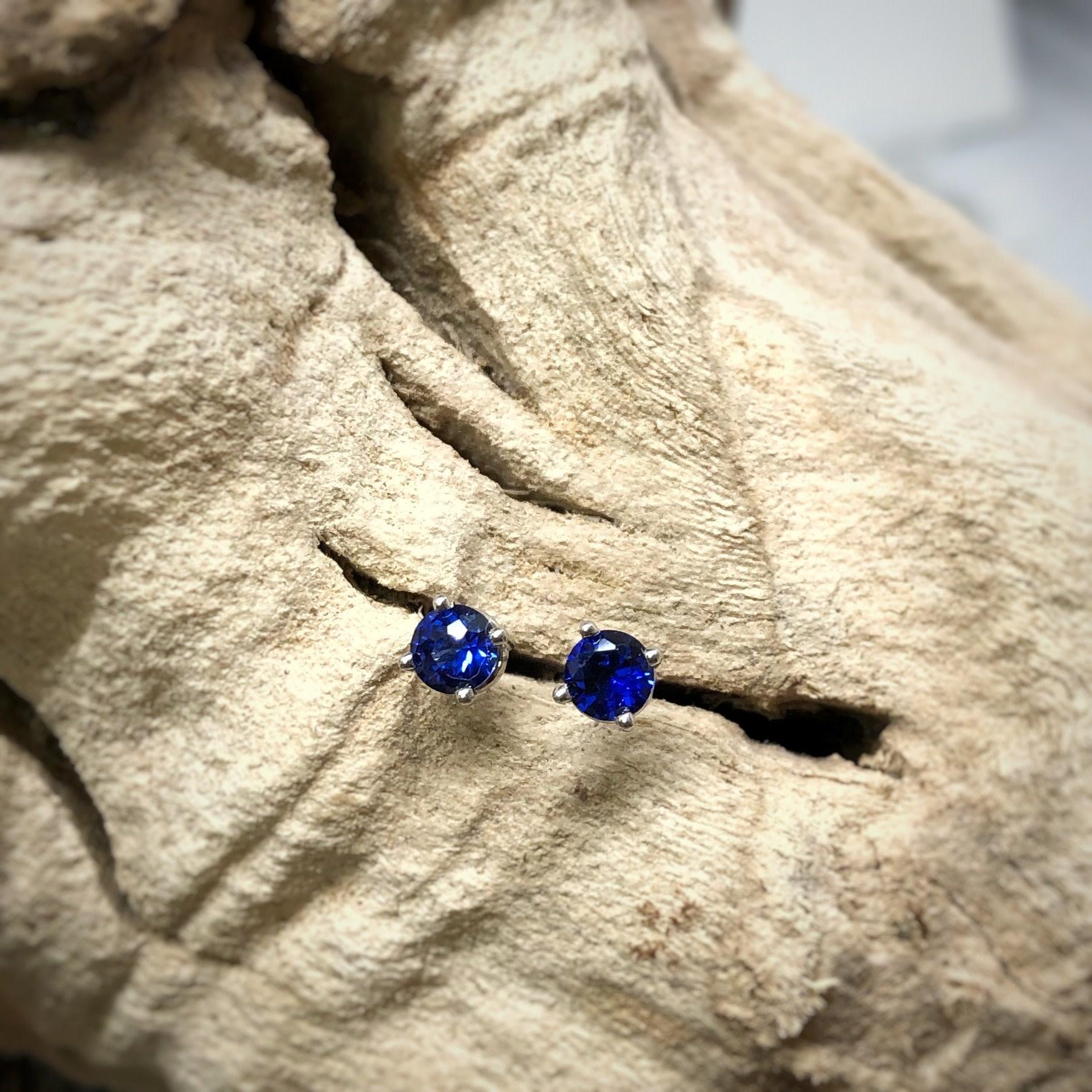 14k cr Bl Sapphire Earrings