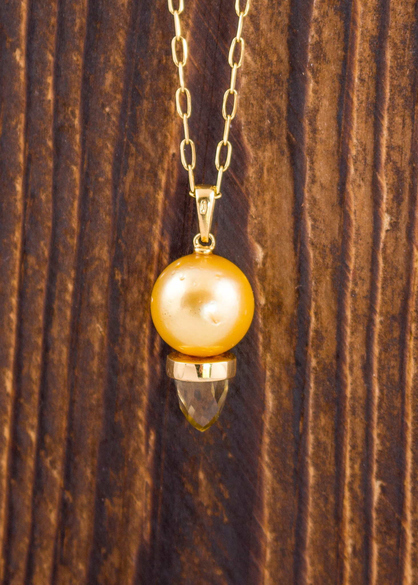 YG Pearl & Citrine Necklace