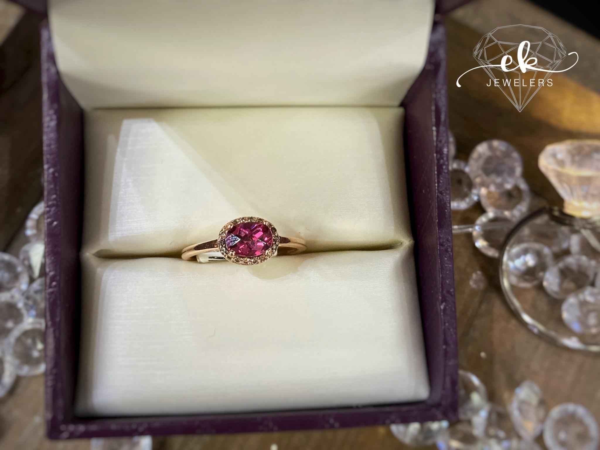 .72ct Pink Tourmaline Chocolate Diamond halo Ring