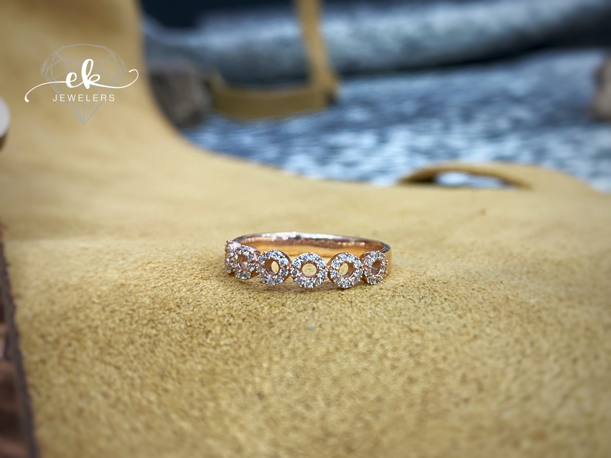Rose Gold and Diamond Circle Band .20tw