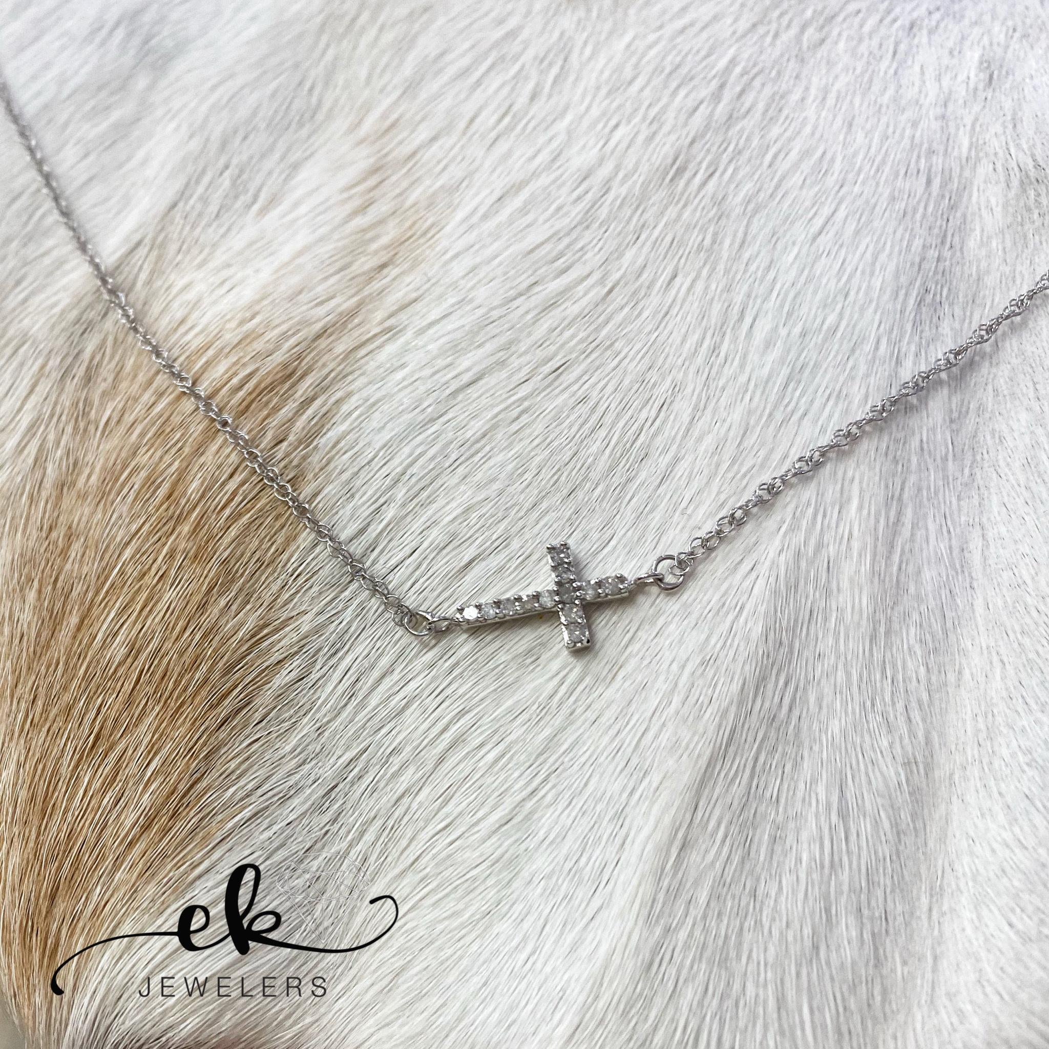 White Gold Sideways Diamond Cross Necklace