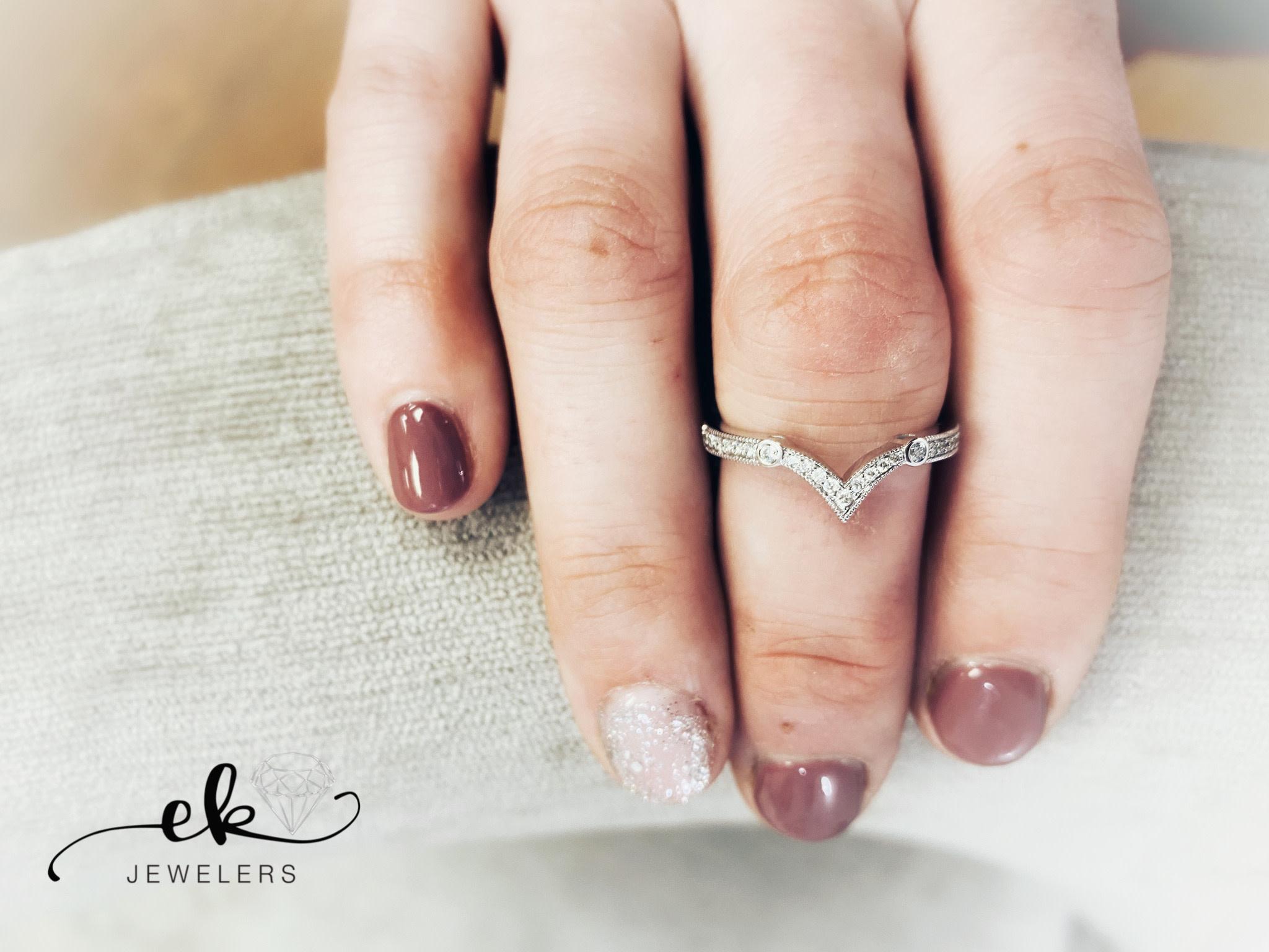 White Gold Diamond V Band Ring