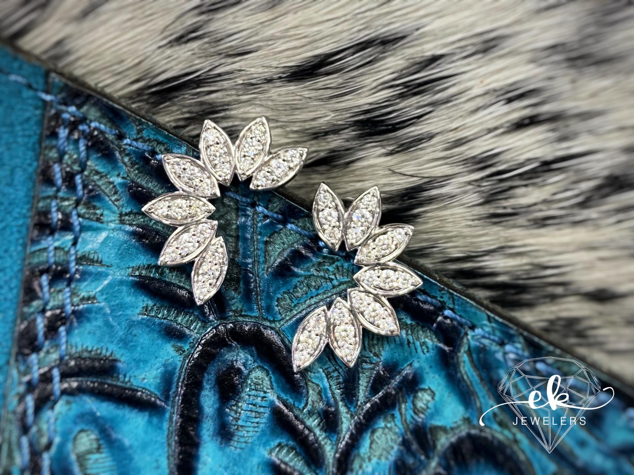 White Gold Diamond Leaf Earrings