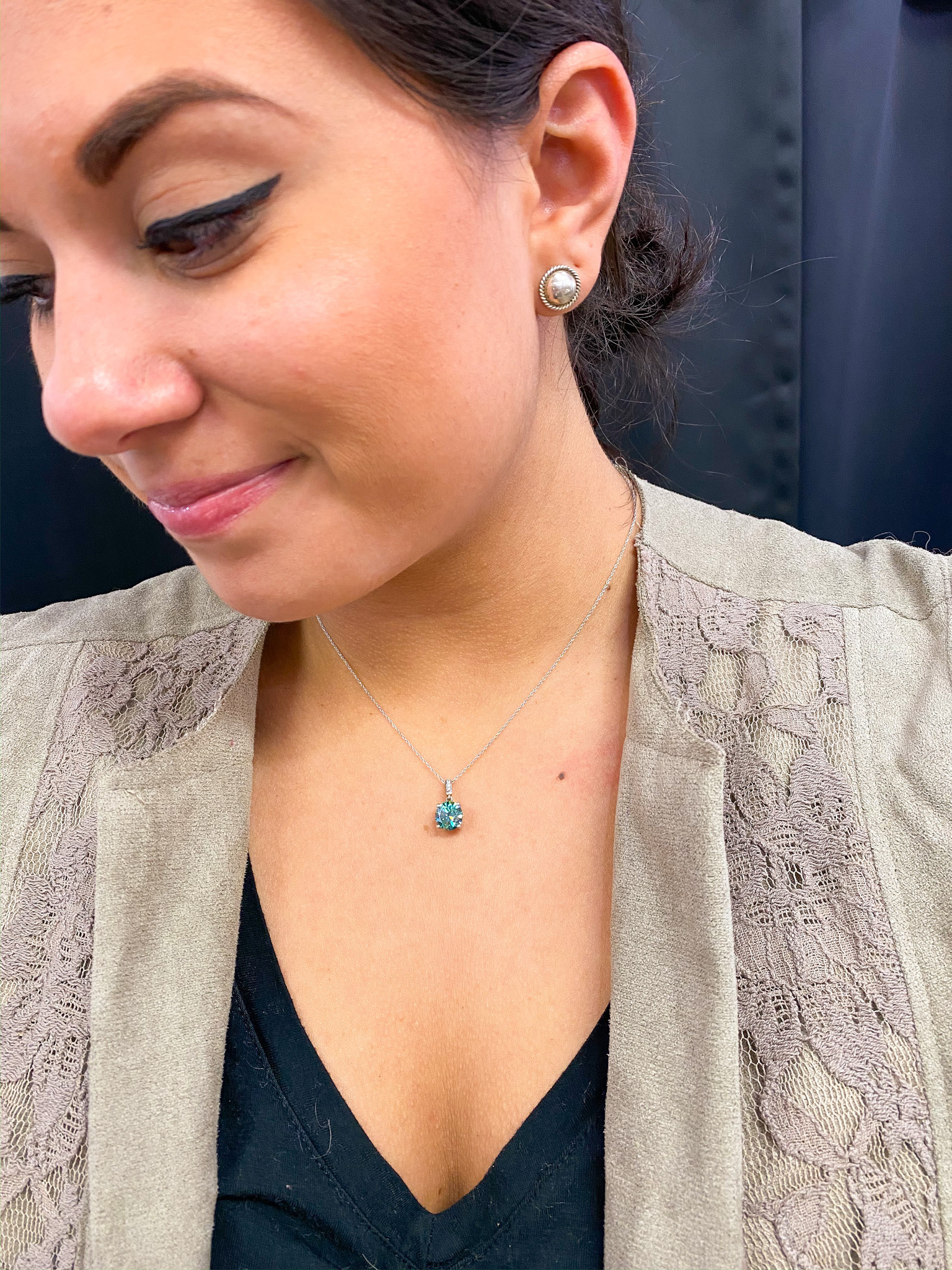 Teal Moissanite Solitaire Necklace