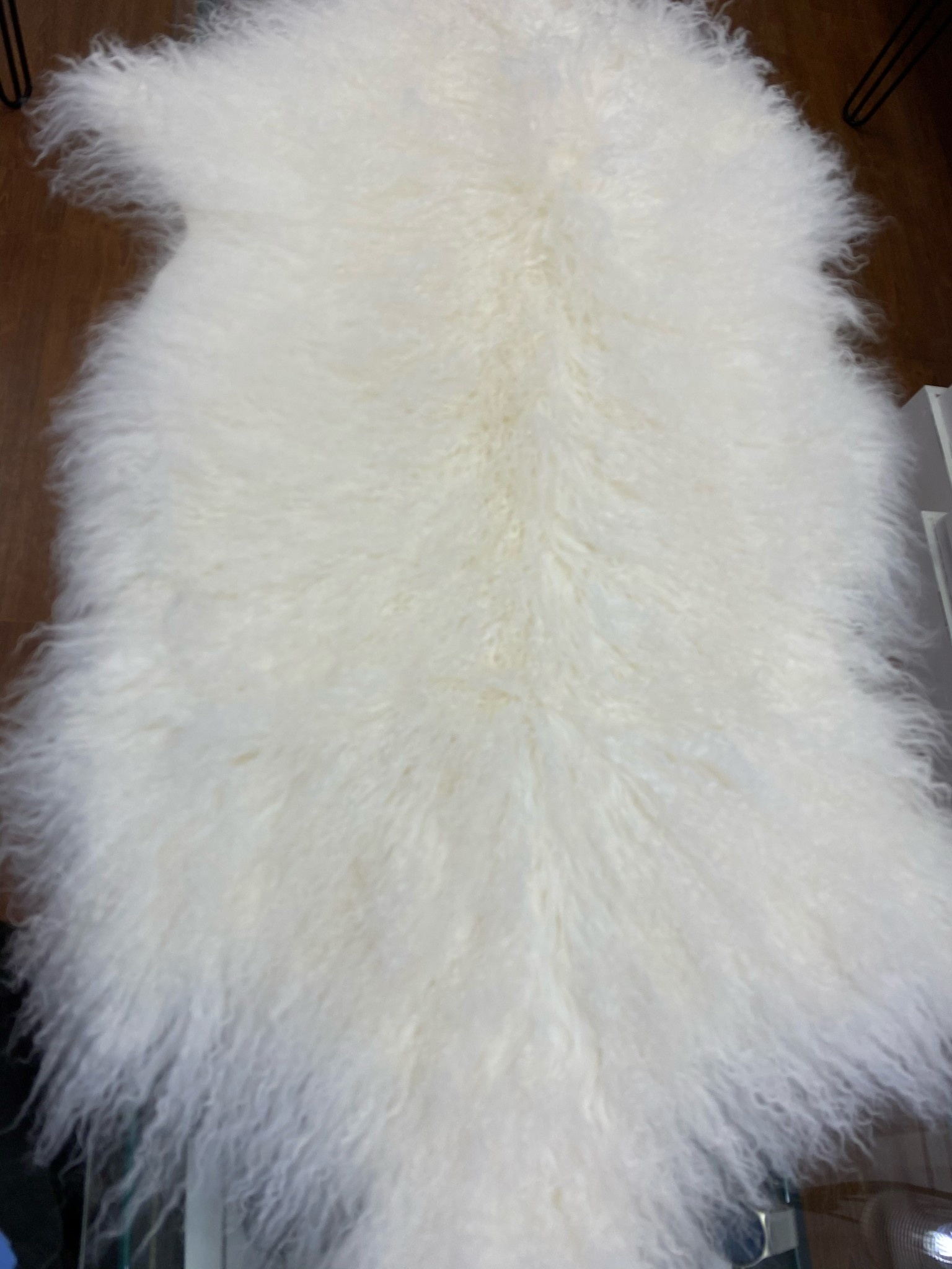 White Mongolian sheep hide