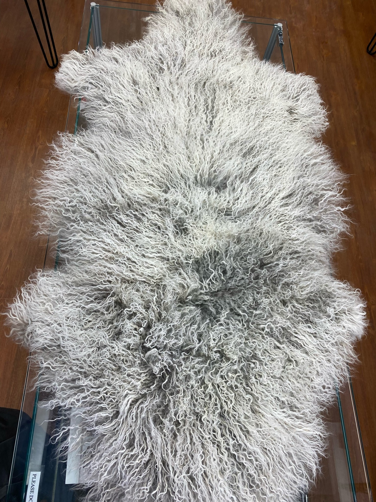 Grey and White Mongolian sheep hide