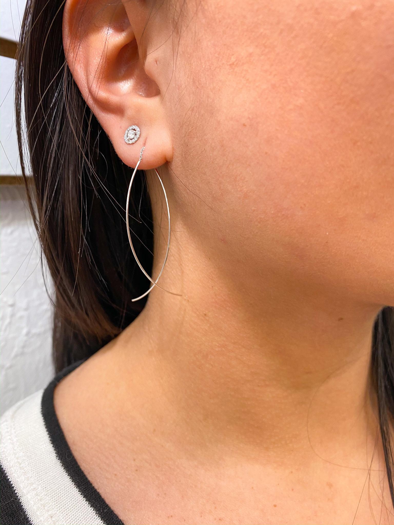 Curved threader earrings 14K White Gold
