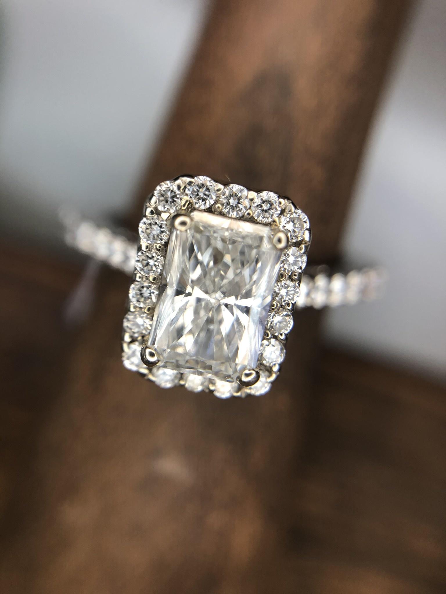 1.0ct Diamond RC 14k White Gold Halo Ring