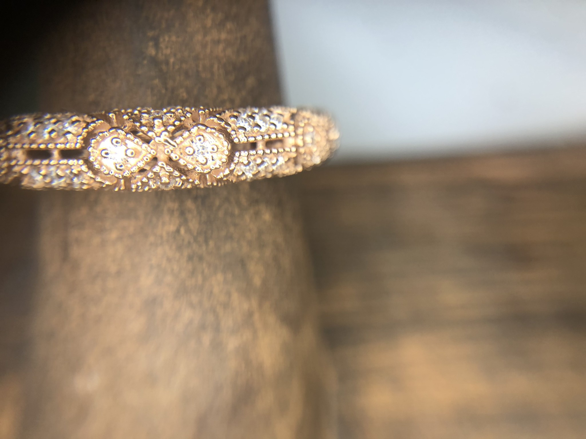 14K Rose Gold Diamond Filigree Stack Ring