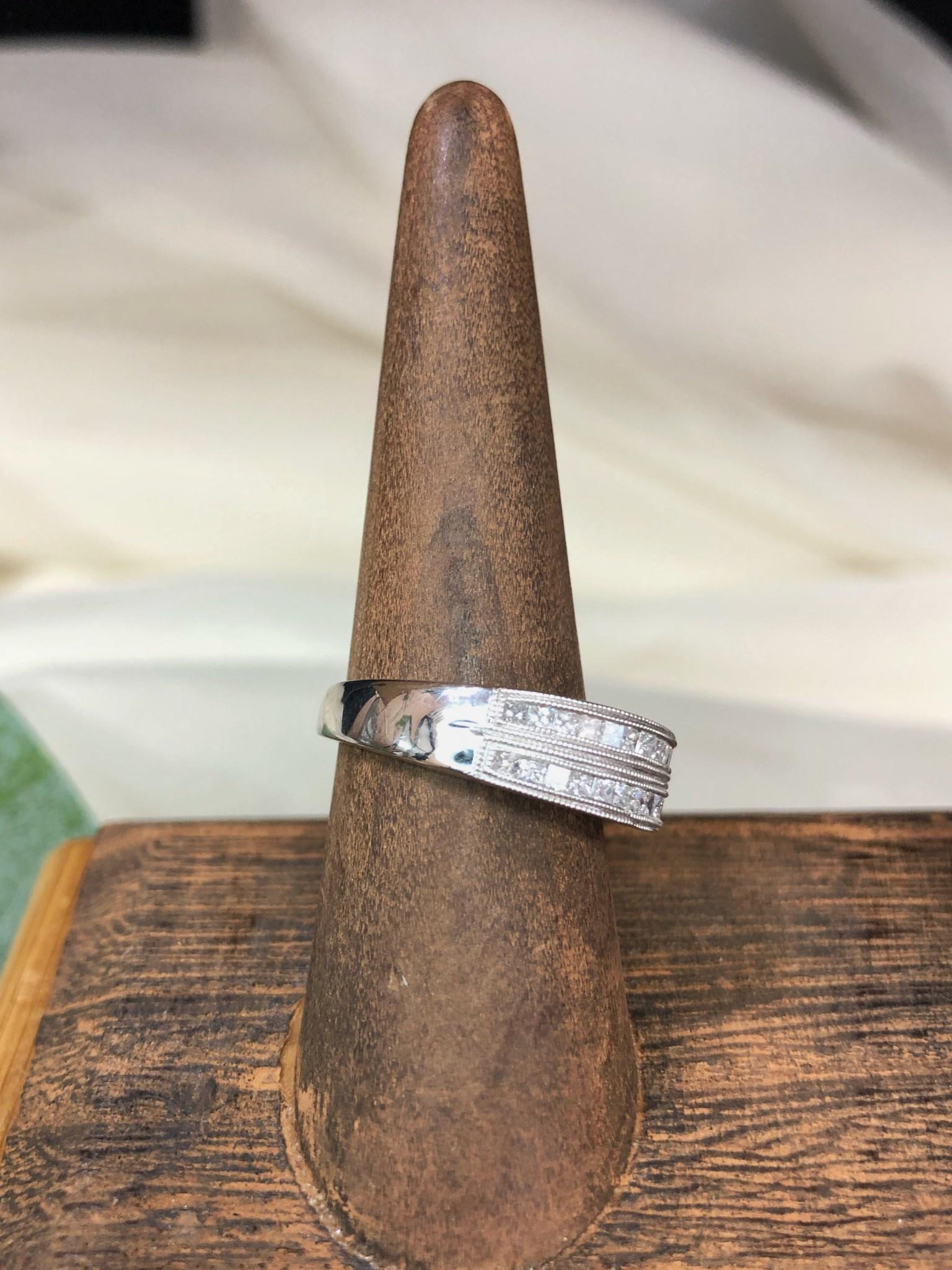 14K White Gold Diamond Bar Band Ring