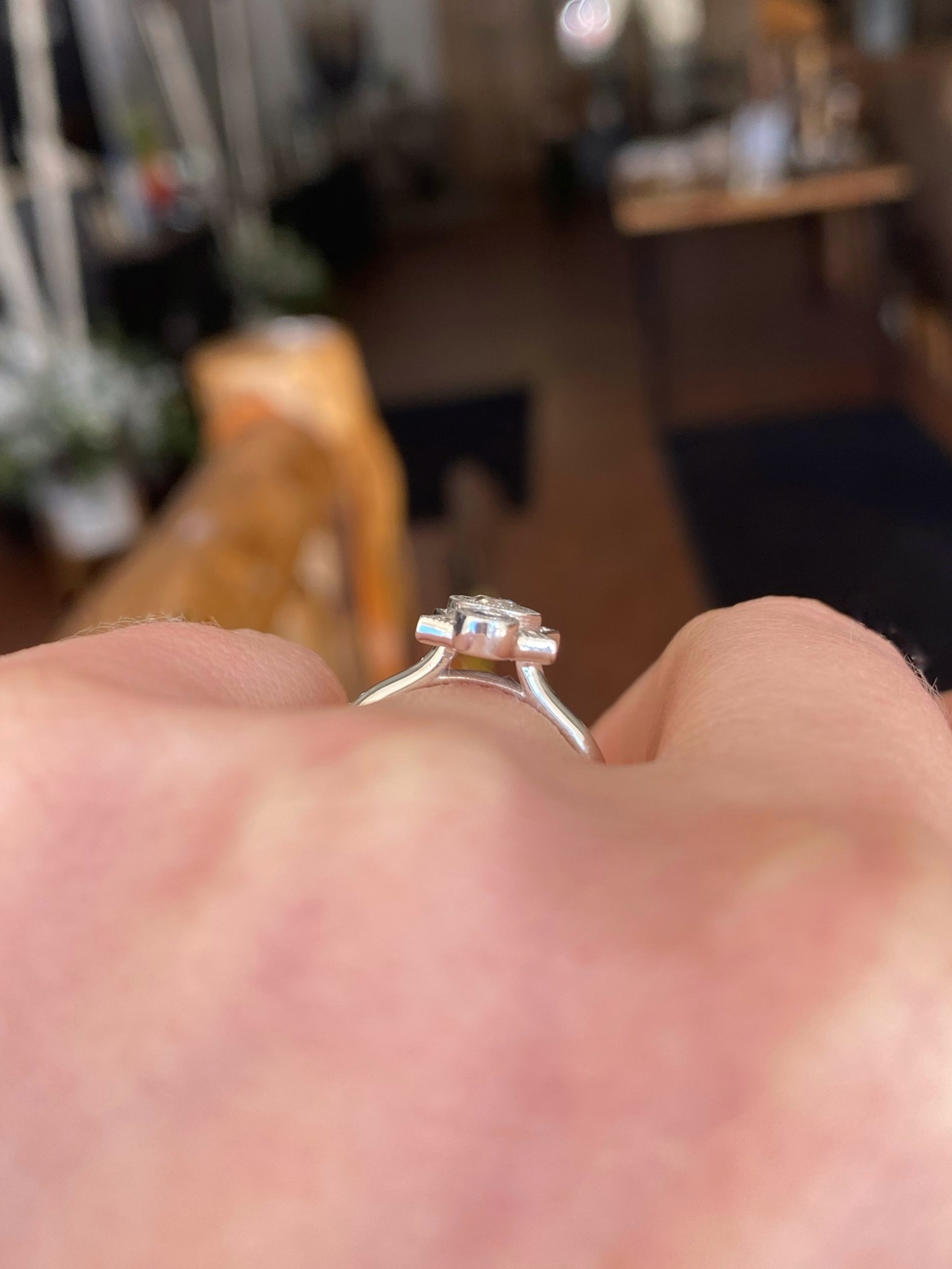 White Gold Art Deco Diamond Sapphire Custom Ring