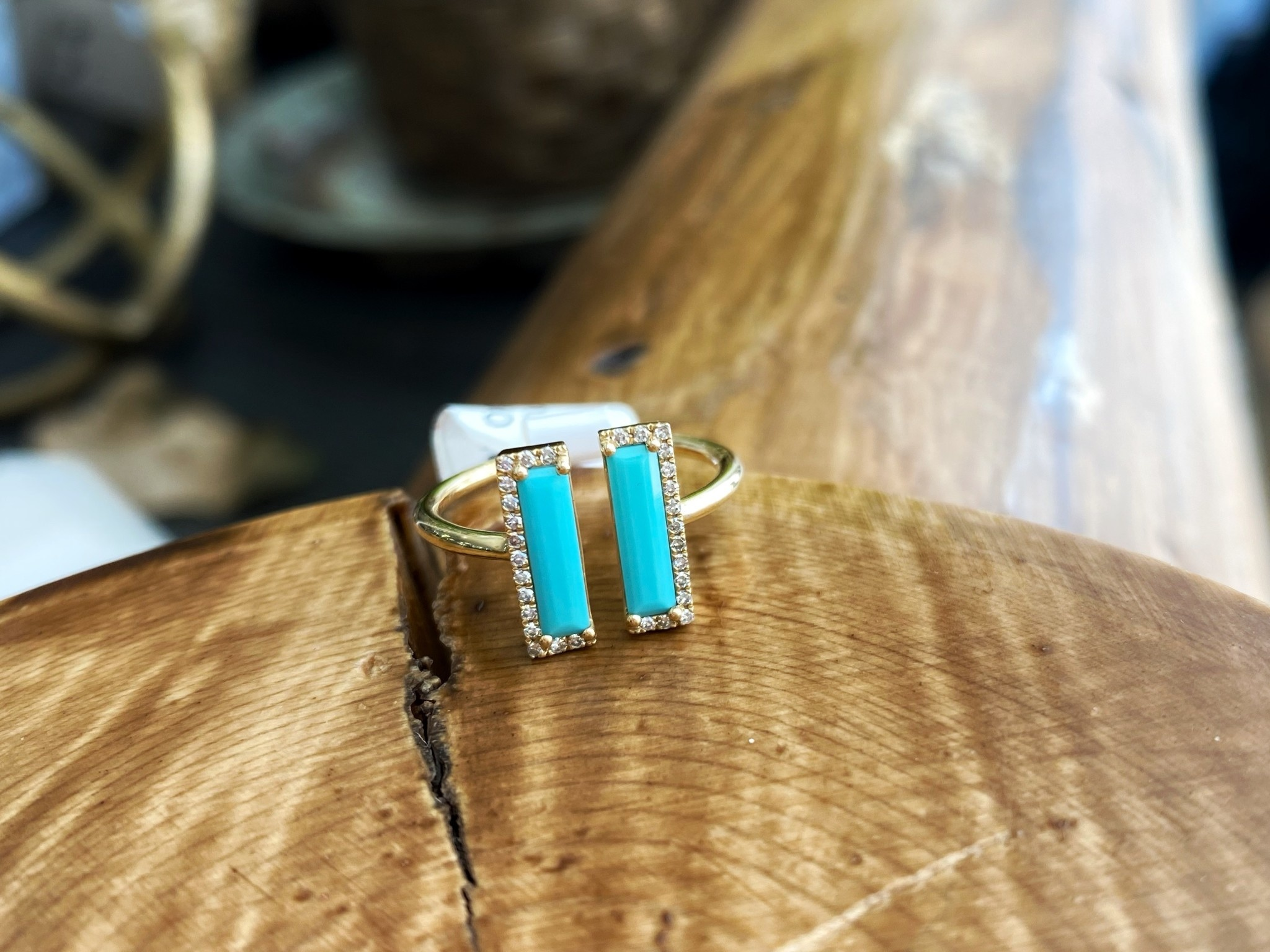 Open Double Turquoise Bar Diamond Ring