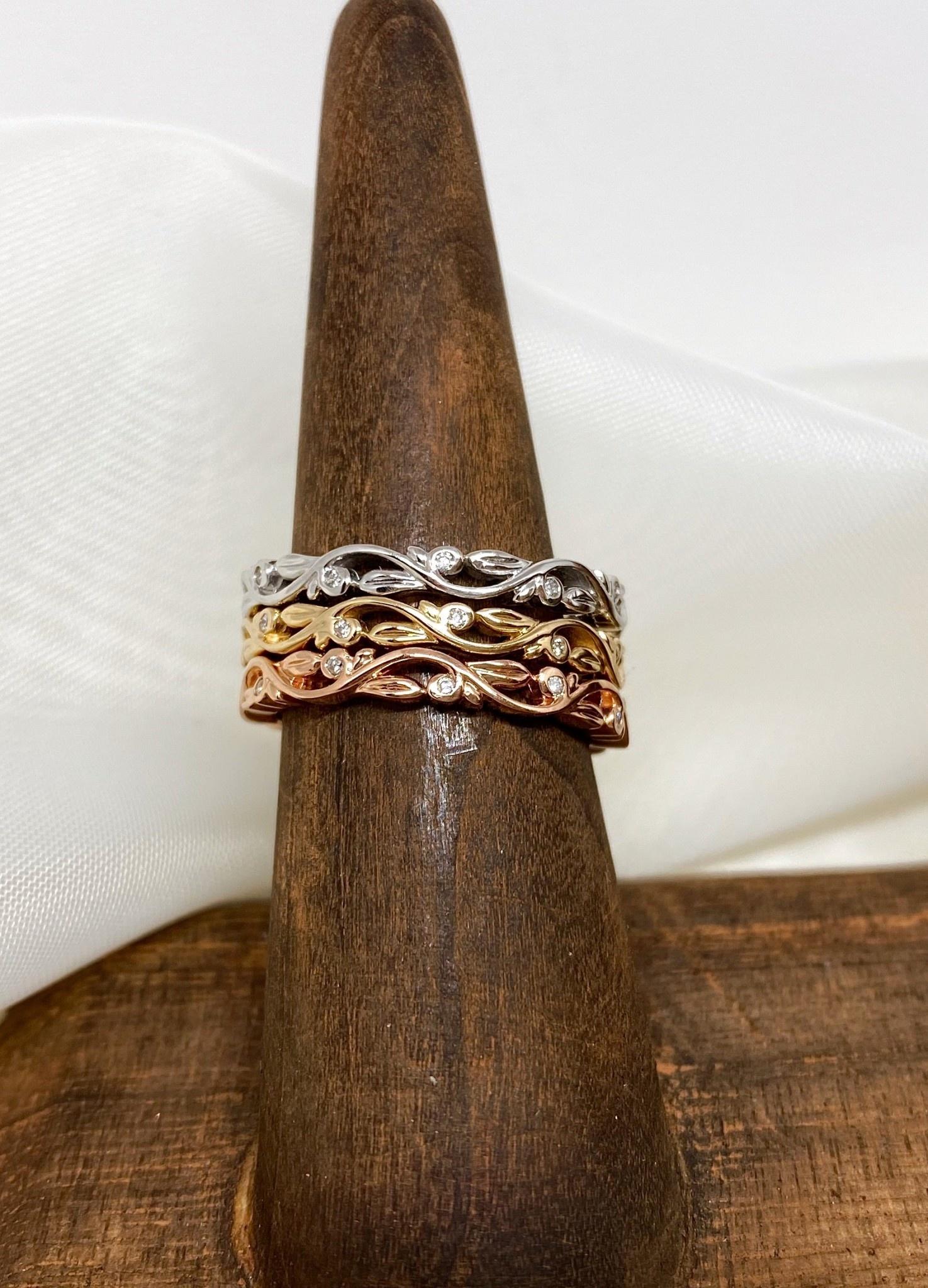 14K Rose Gold Diamond Leaf Ring Band