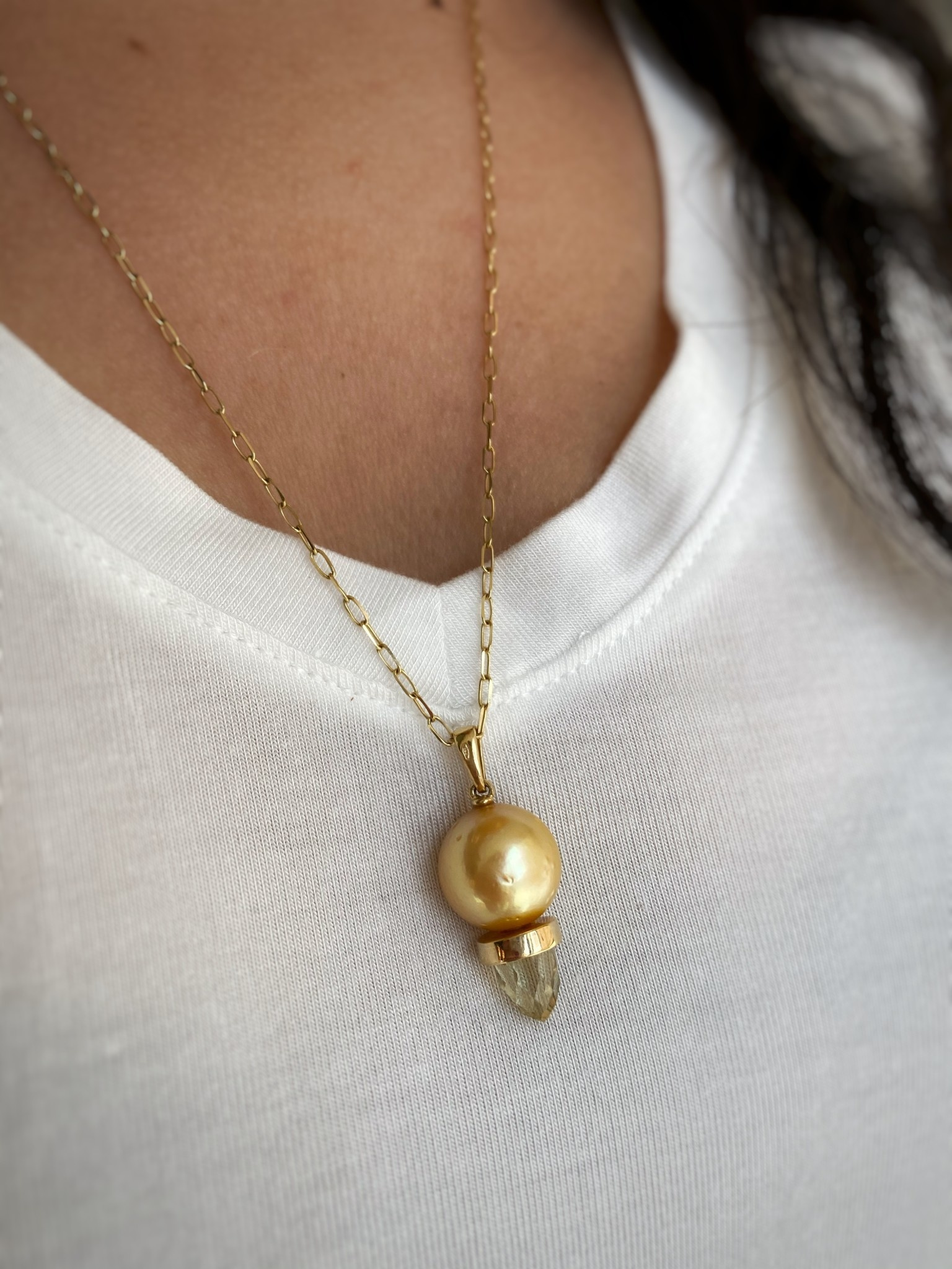18ky Pearl & Citrine Necklace
