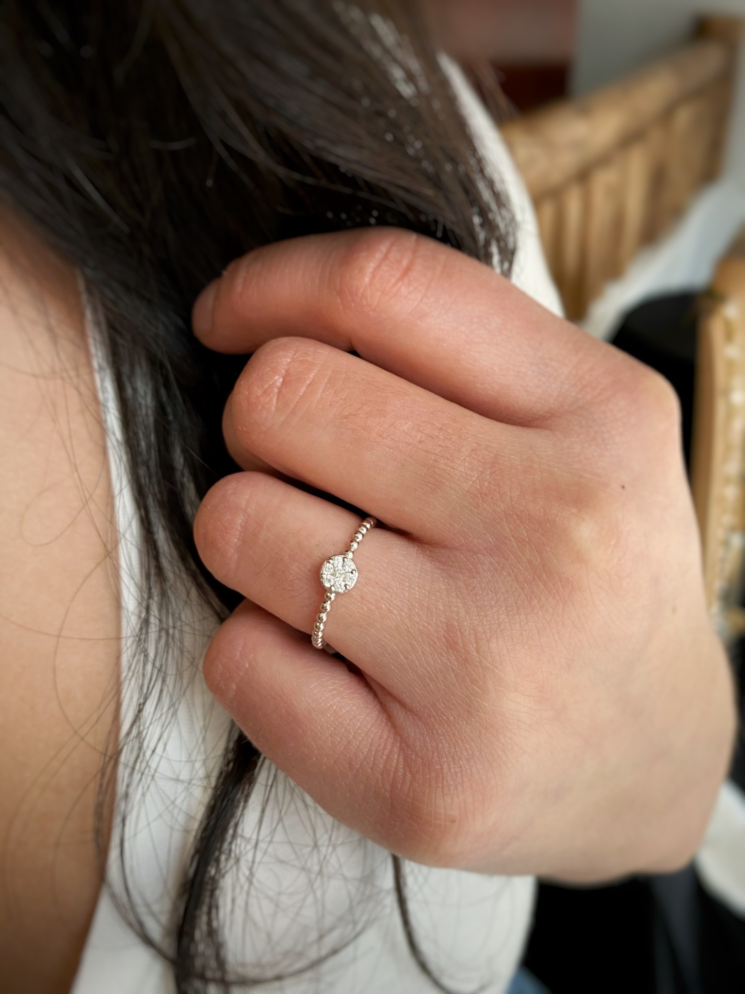 Small Round Diamond Cluster Stack Band