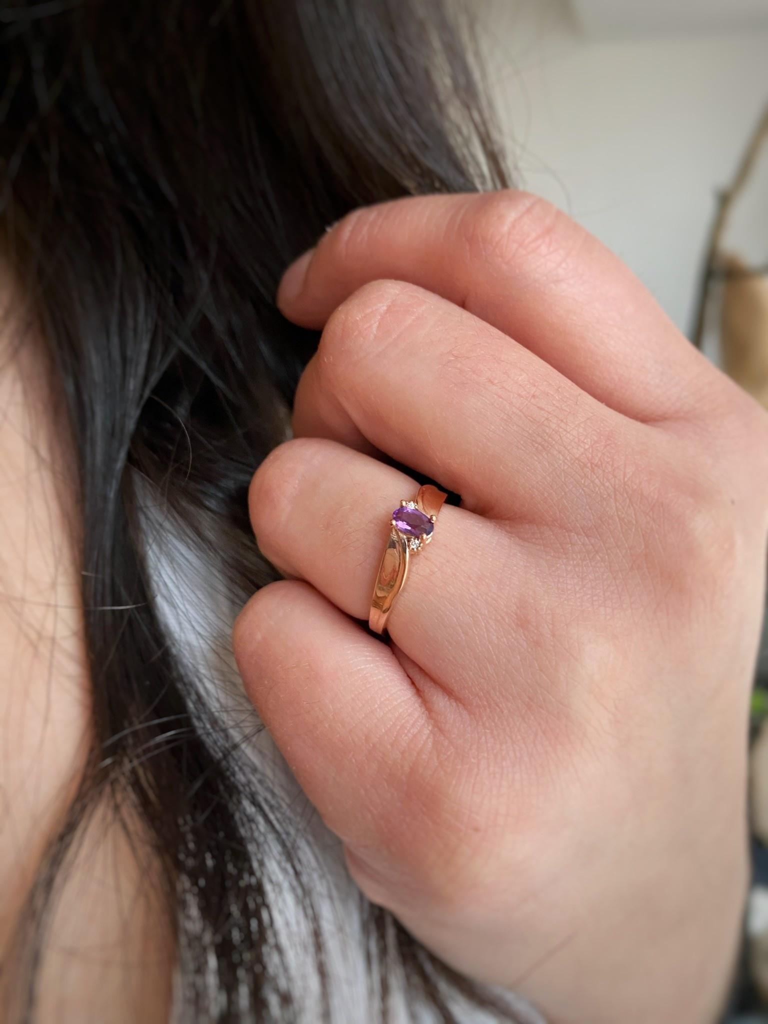 10k Rose Gold Amethyst & Diamond Ring