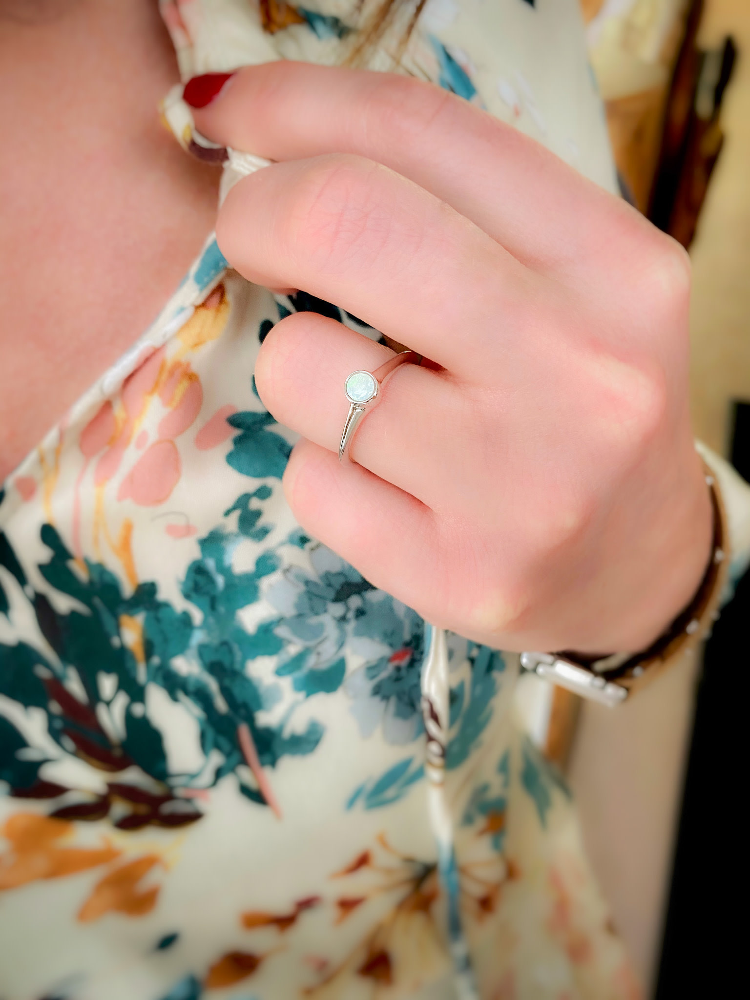 Genuine Opal Solitaire Bezel Ring