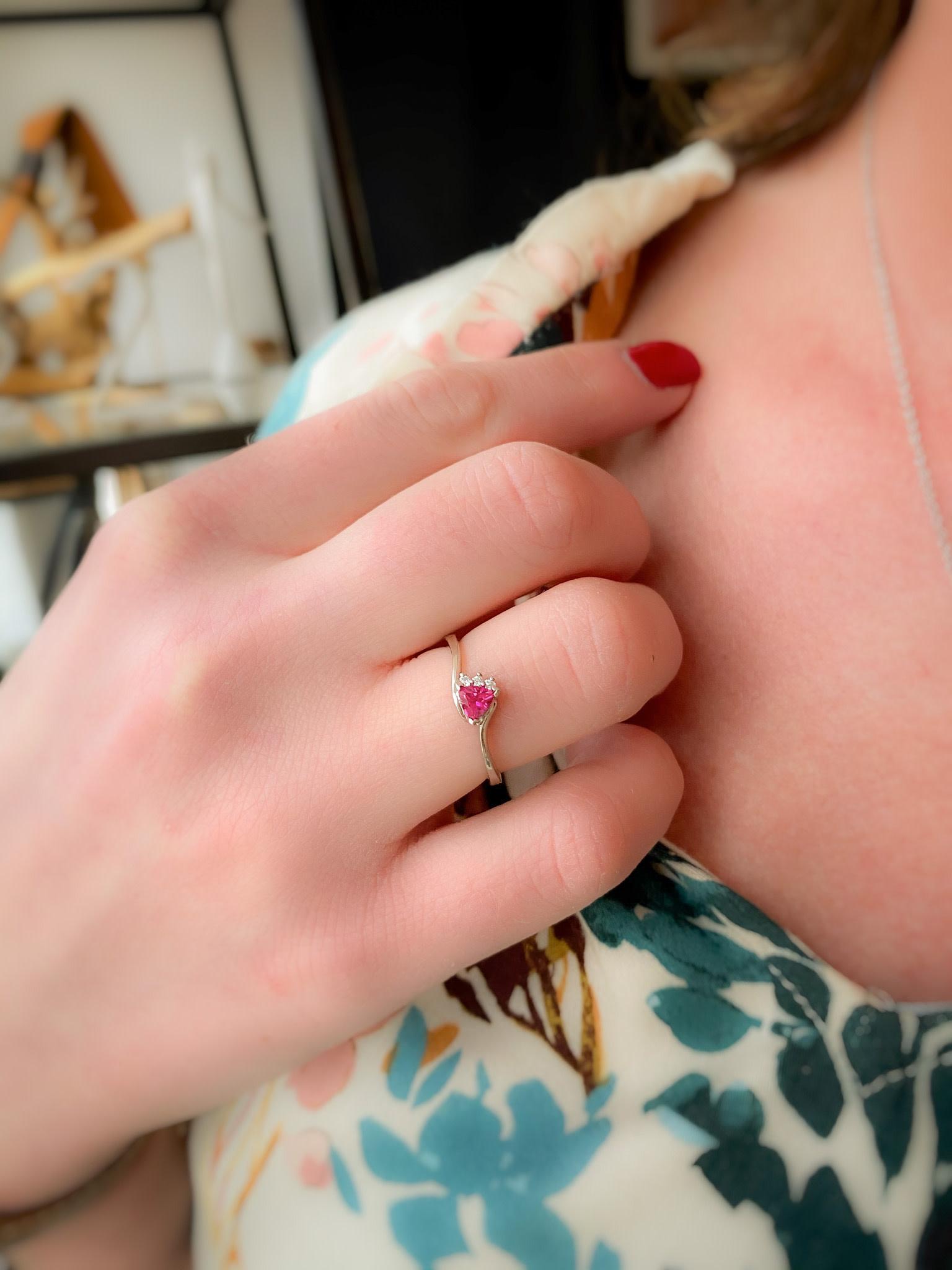 10k Created Ruby & Diamond Ring