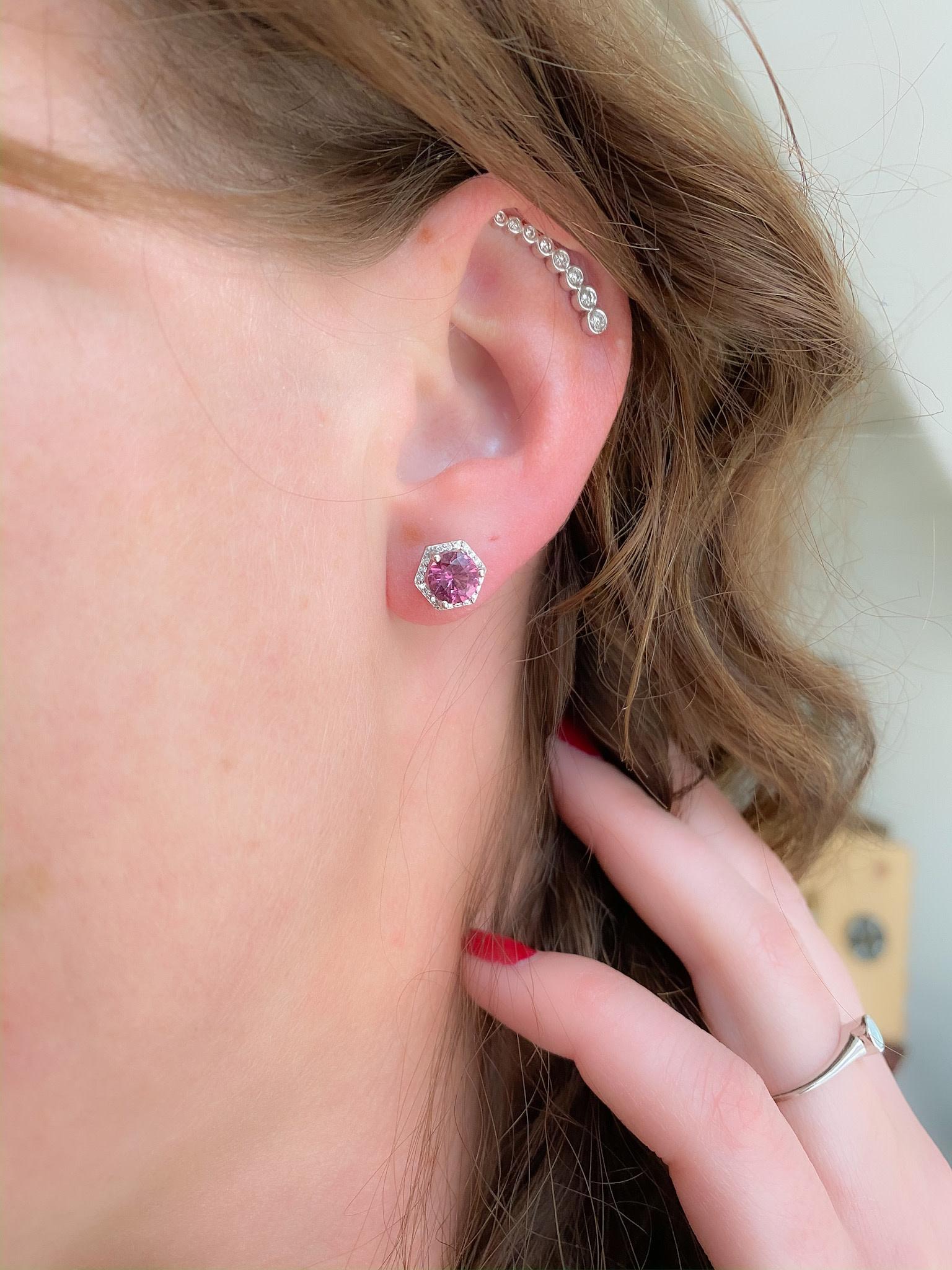 2.03tw Rhodolite Garnet and Diamond Earrings