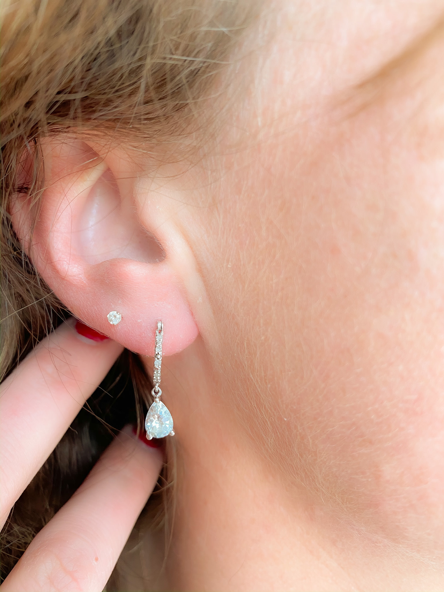 White Gold Aquamarine Diamond Drop Earrings