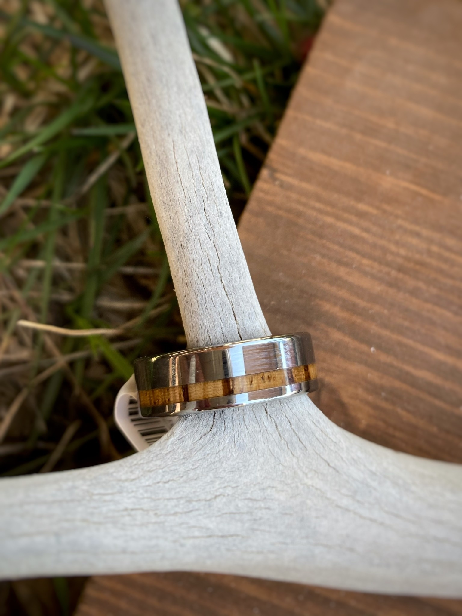 Tungsten & Zebra Wood Mens Ring