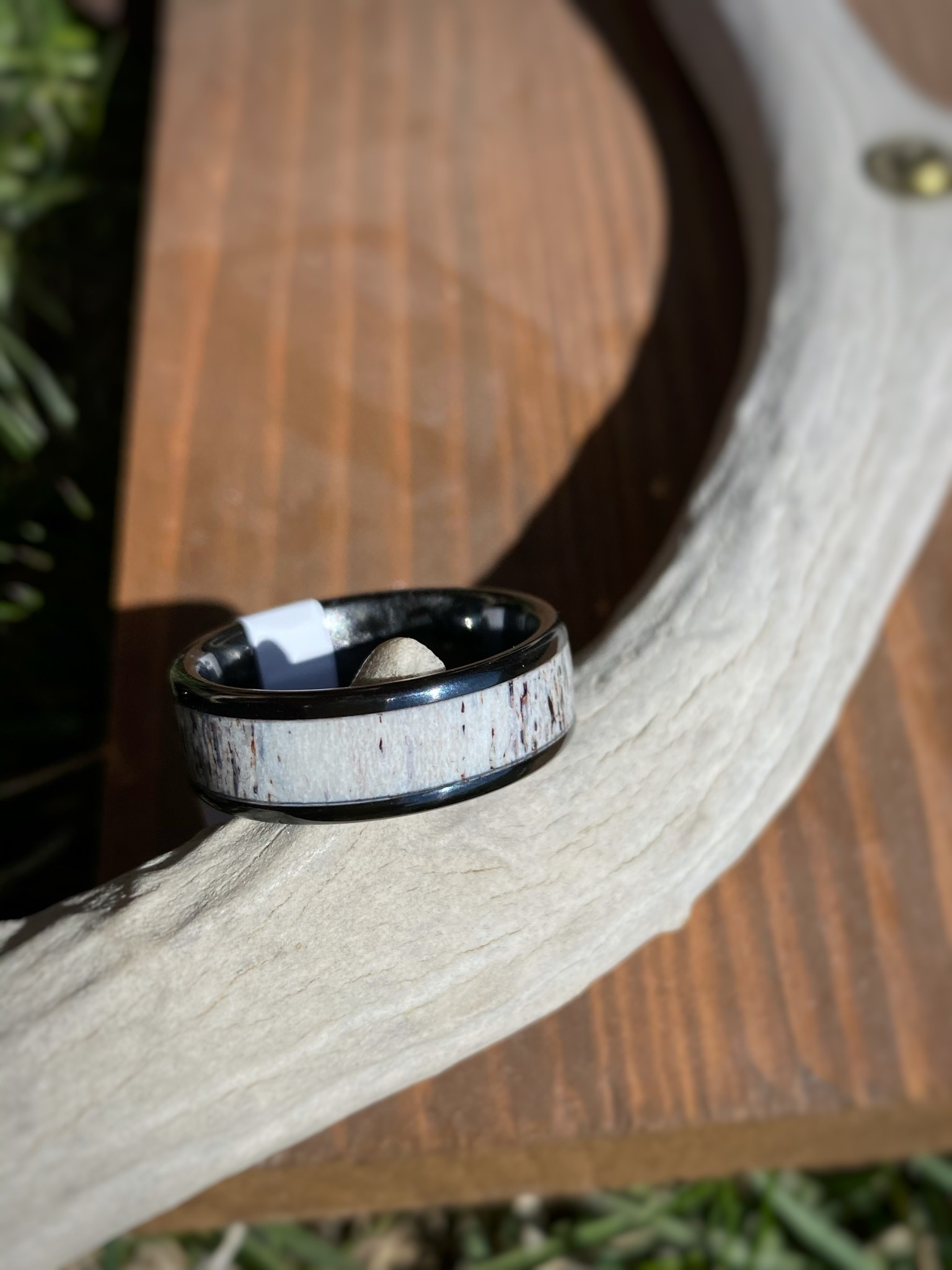 Mens Black Ceramic & Antler Ring