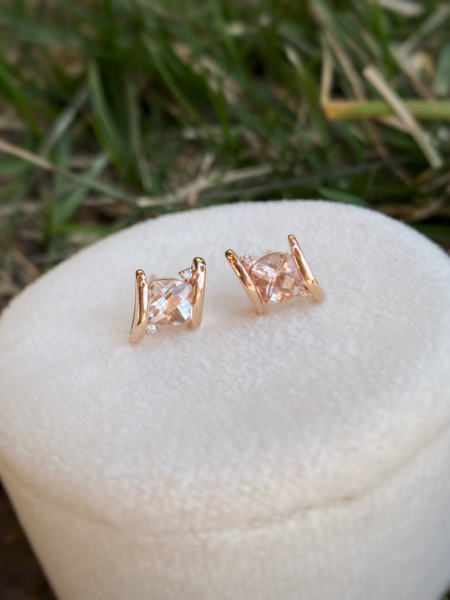 Bypass Morganite & Diamond Stud Earrings