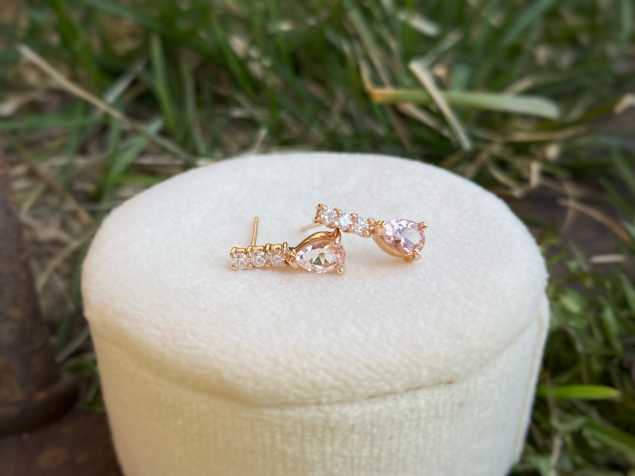 Pear Morganite & Diamond Dangle Earrings