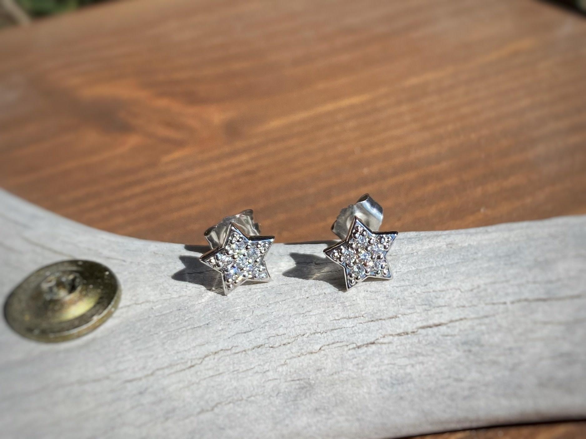0.12ctw Star Stud Diamond Earrings