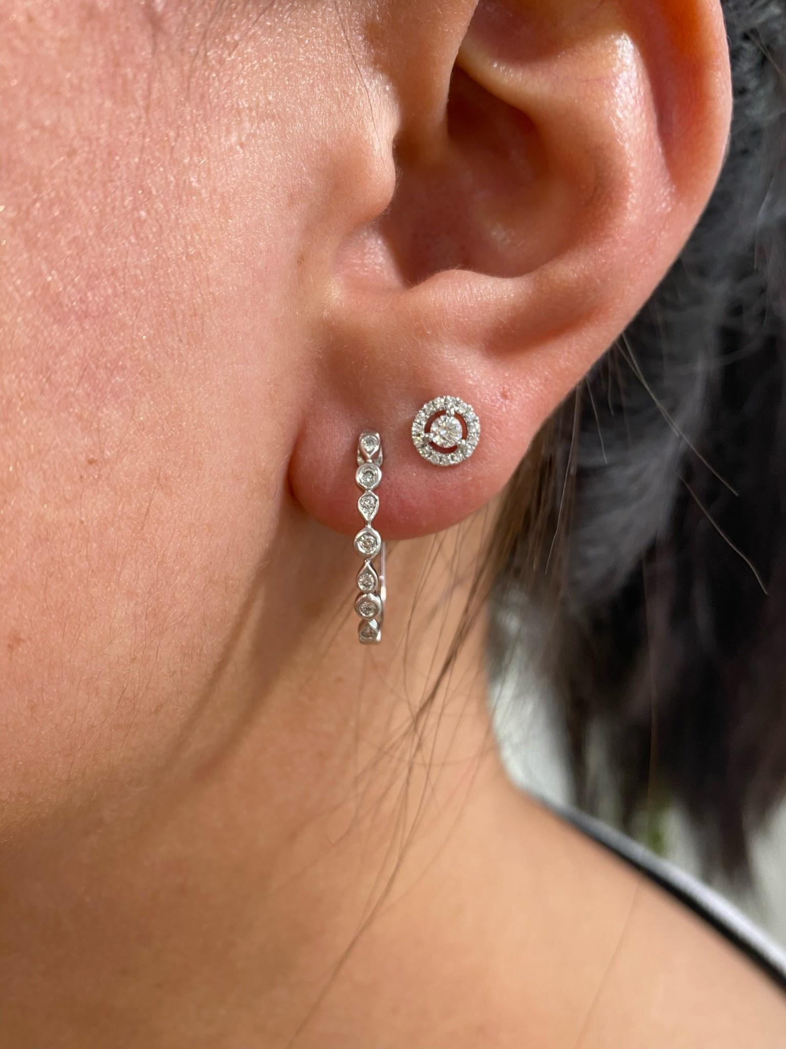 .20tw  WG Diamond Hoop Earrings