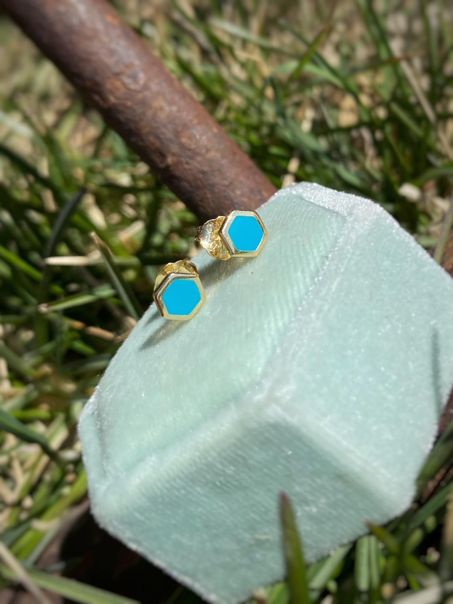 Blue enamel 14k YG Stud Earrings