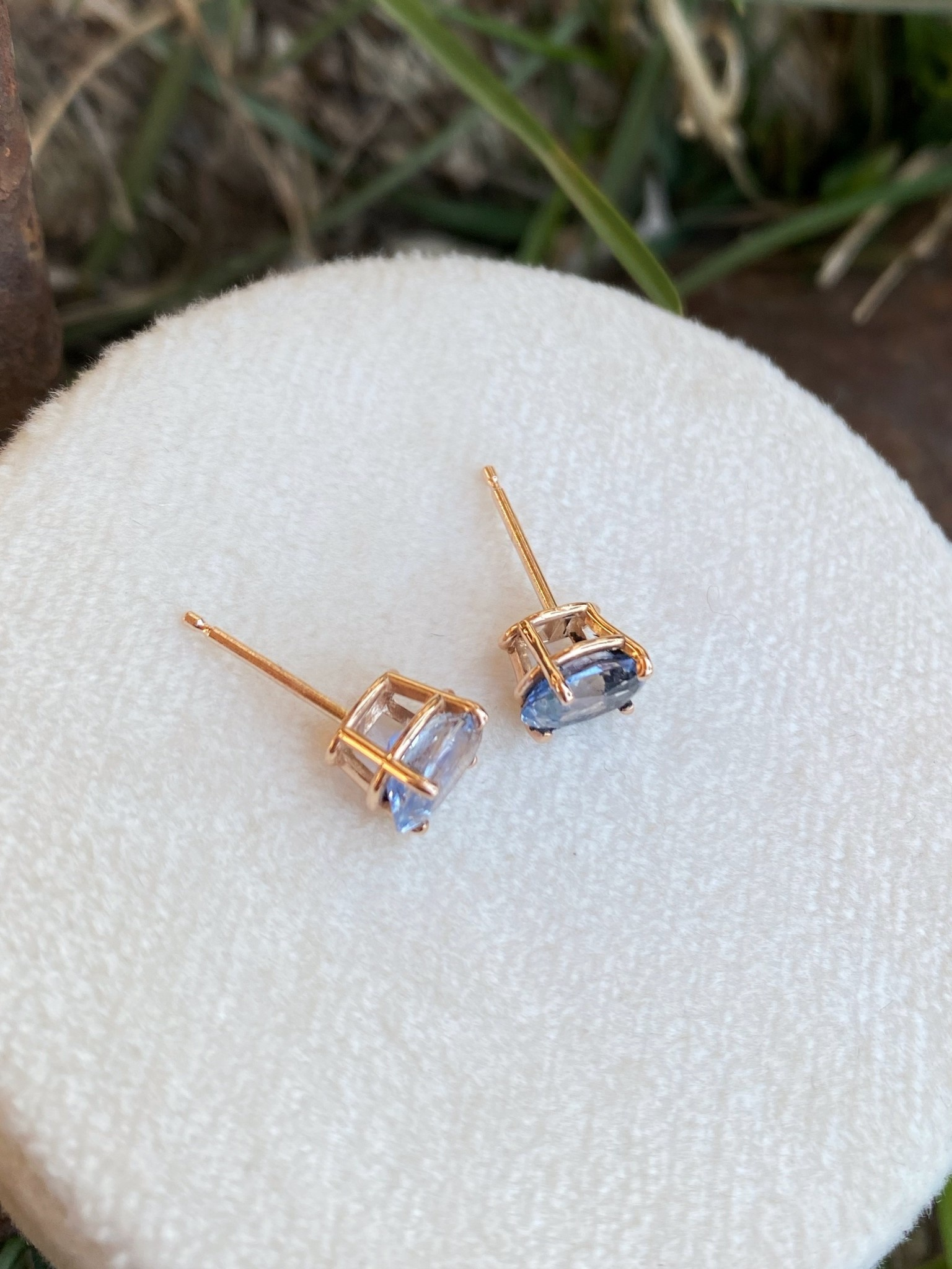 1.88ctw Blue Sapphire Rose Gold Studs