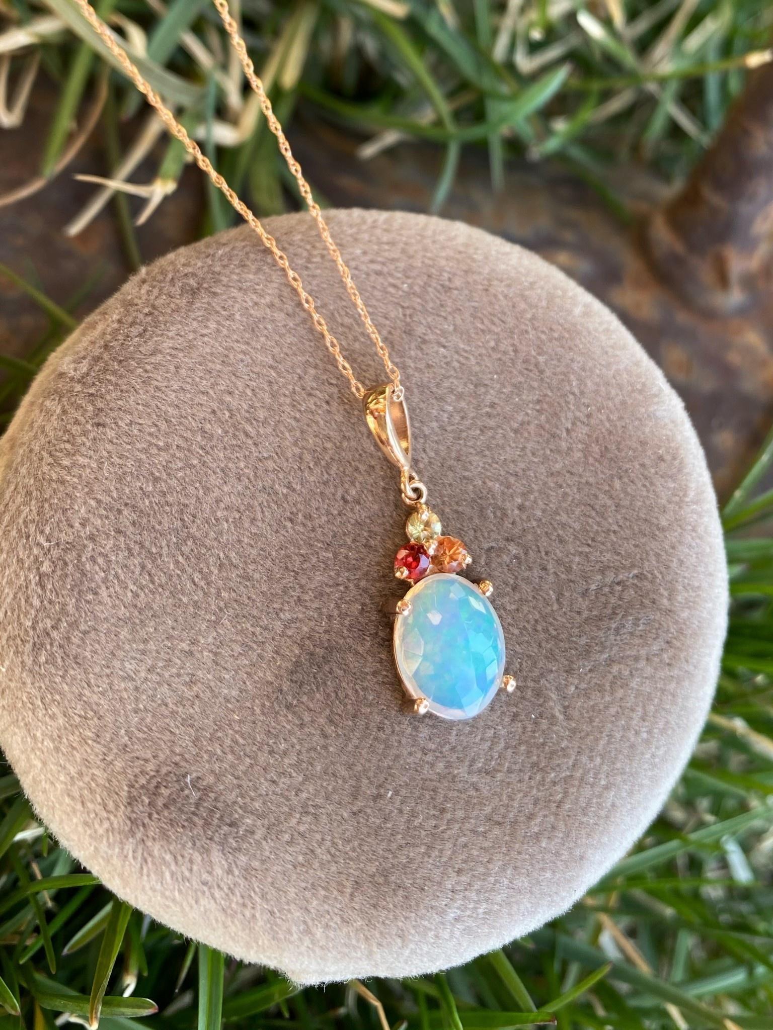 14kr Opal and Multi Color Sapphire Pendant
