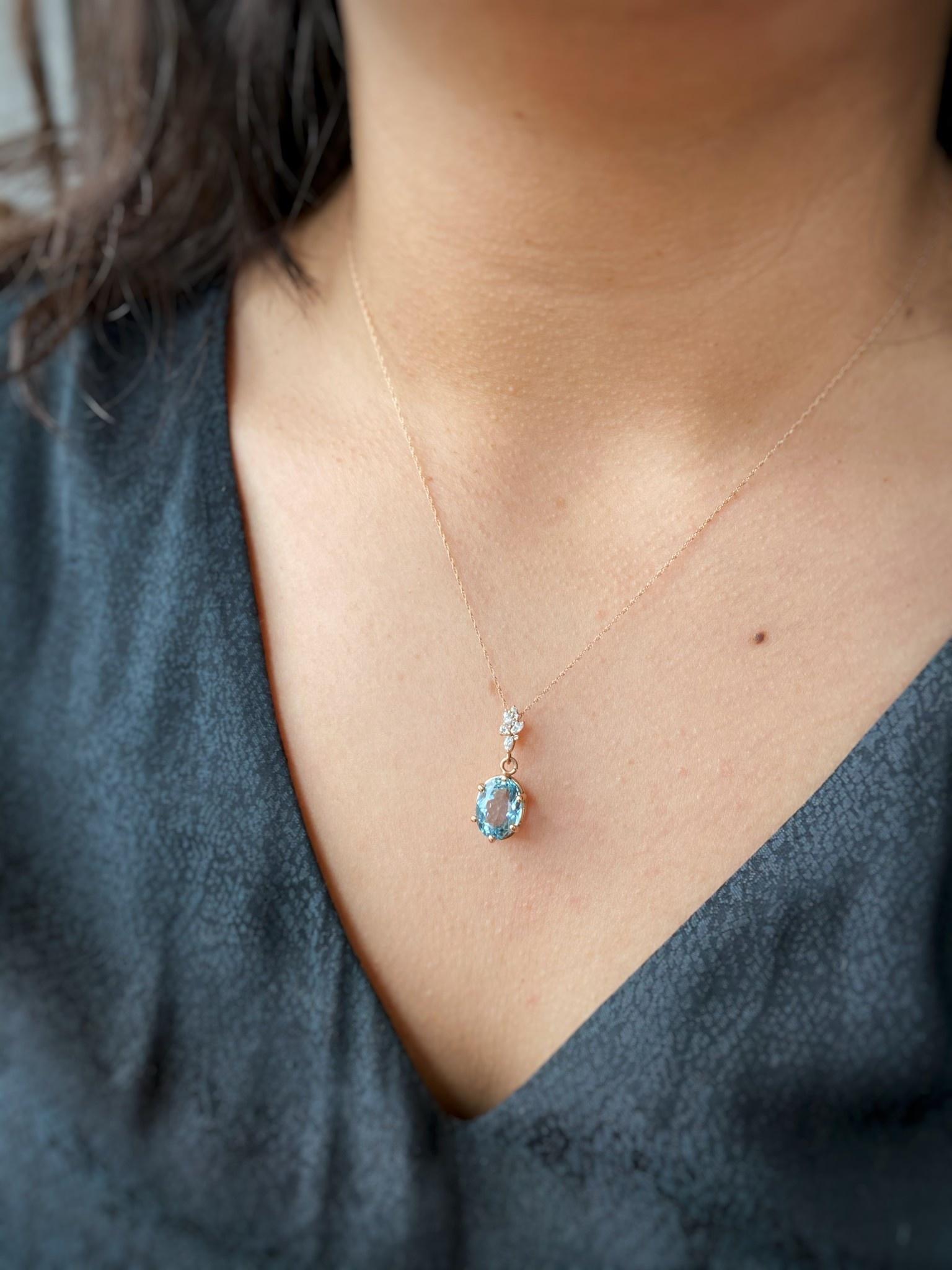 Rose Gold Aquamarine Diamond Necklace